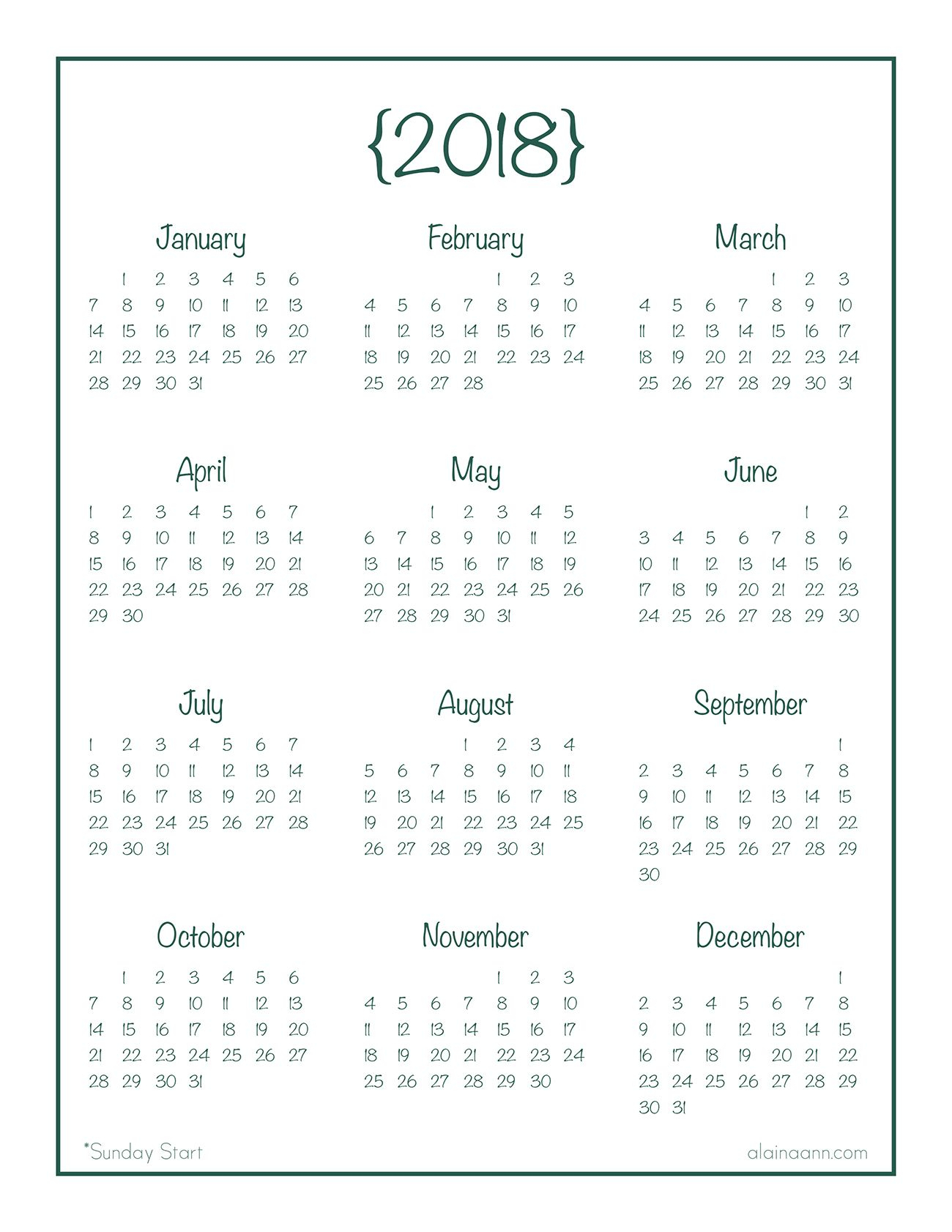 2018 Year-At-A-Glance Calendar {Free Printable} | Planner/journal inside Blank Year At A Glance Calendar Template