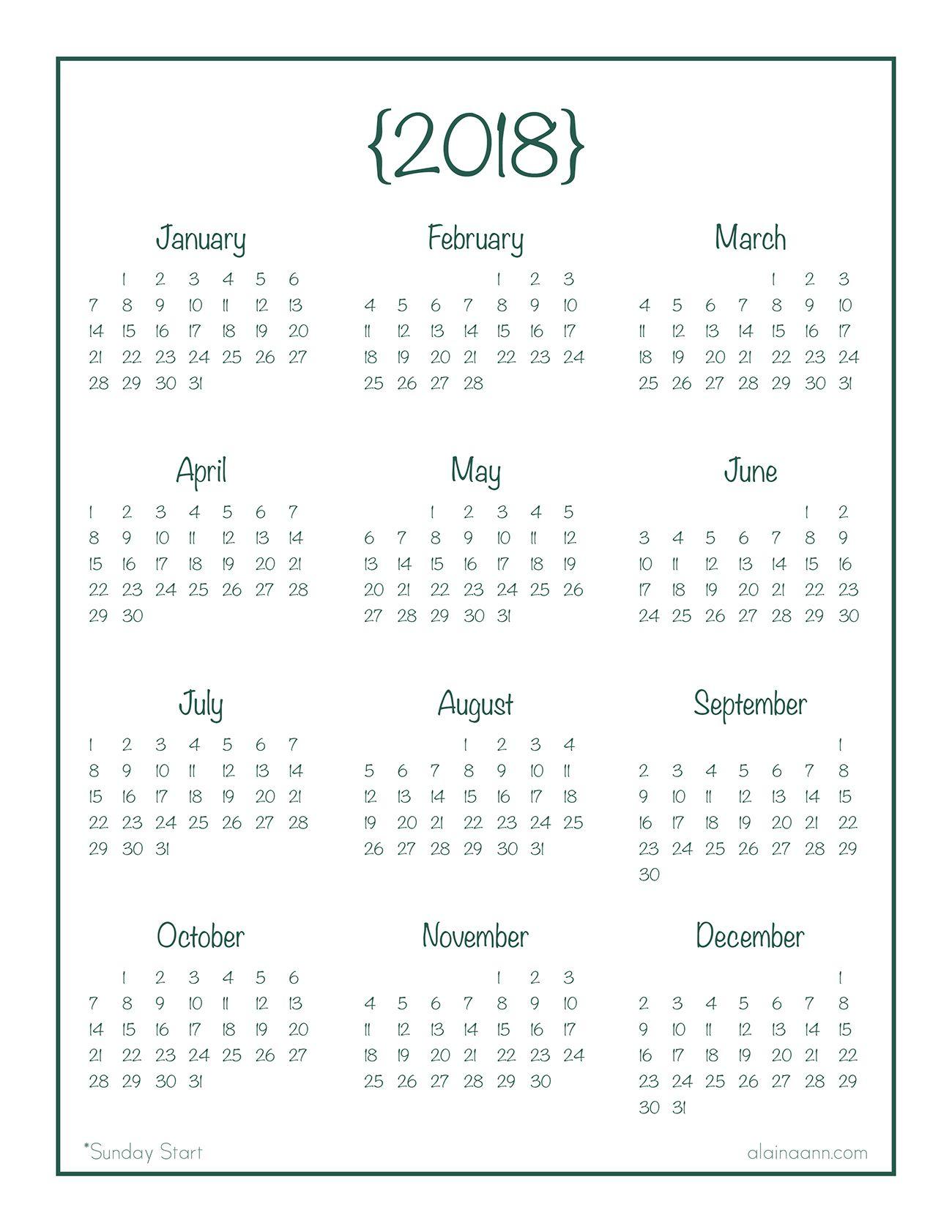 2018 Year-At-A-Glance Calendar {Free Printable} | Planner/journal regarding Calendar Template Year At A Glance