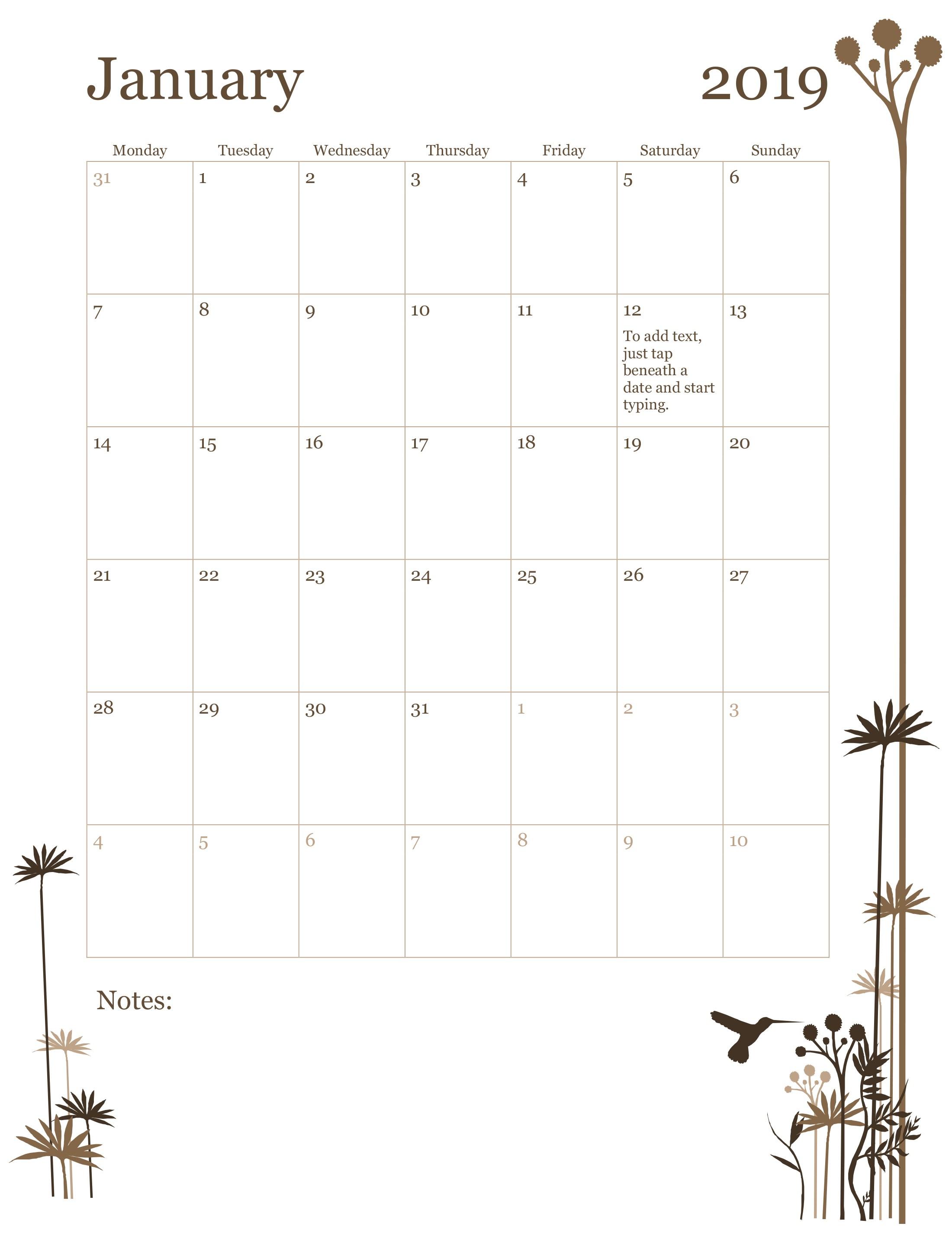 2019 12-Month Calendar (Mon-Sun) regarding Monthly Calendar Powerpoint Template