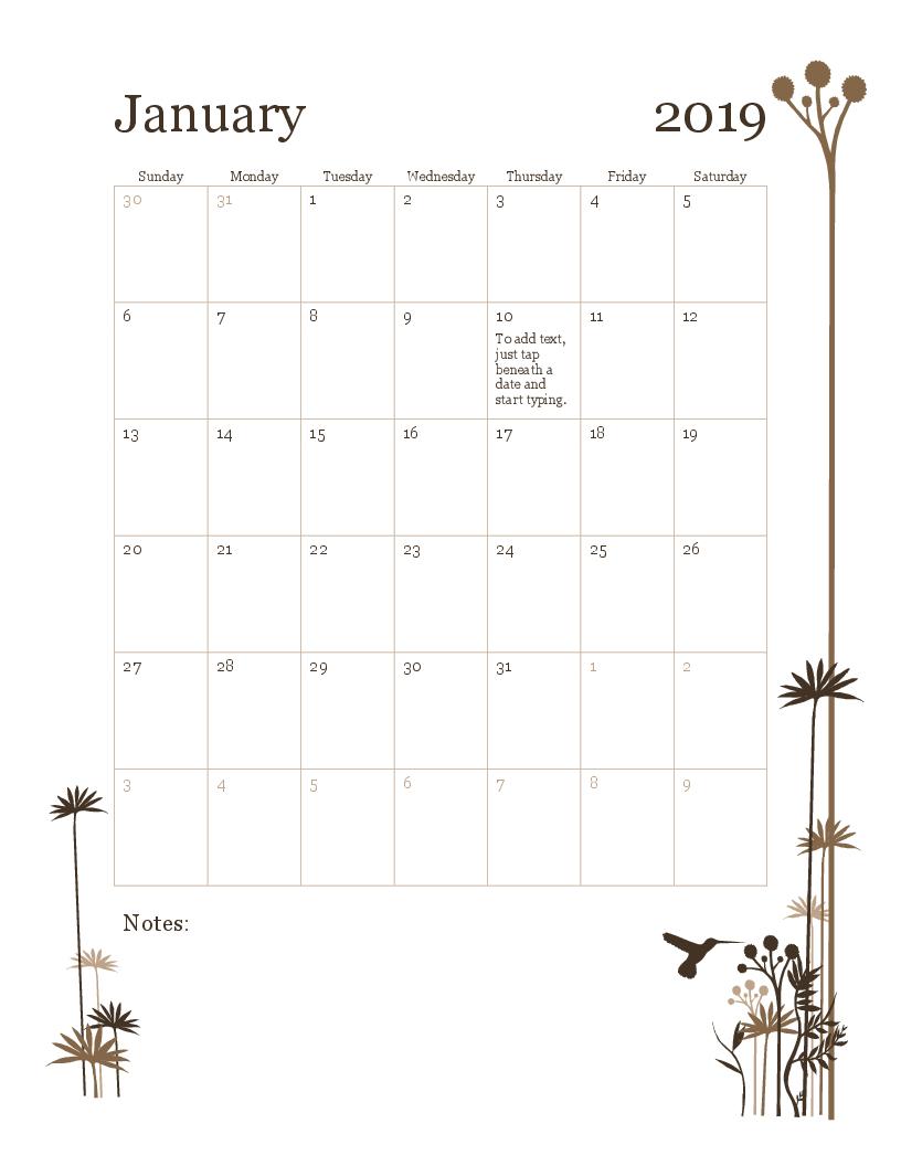 2019 12-Month Calendar (Sun-Sat) in Monthly Calendar Templates 12 Months