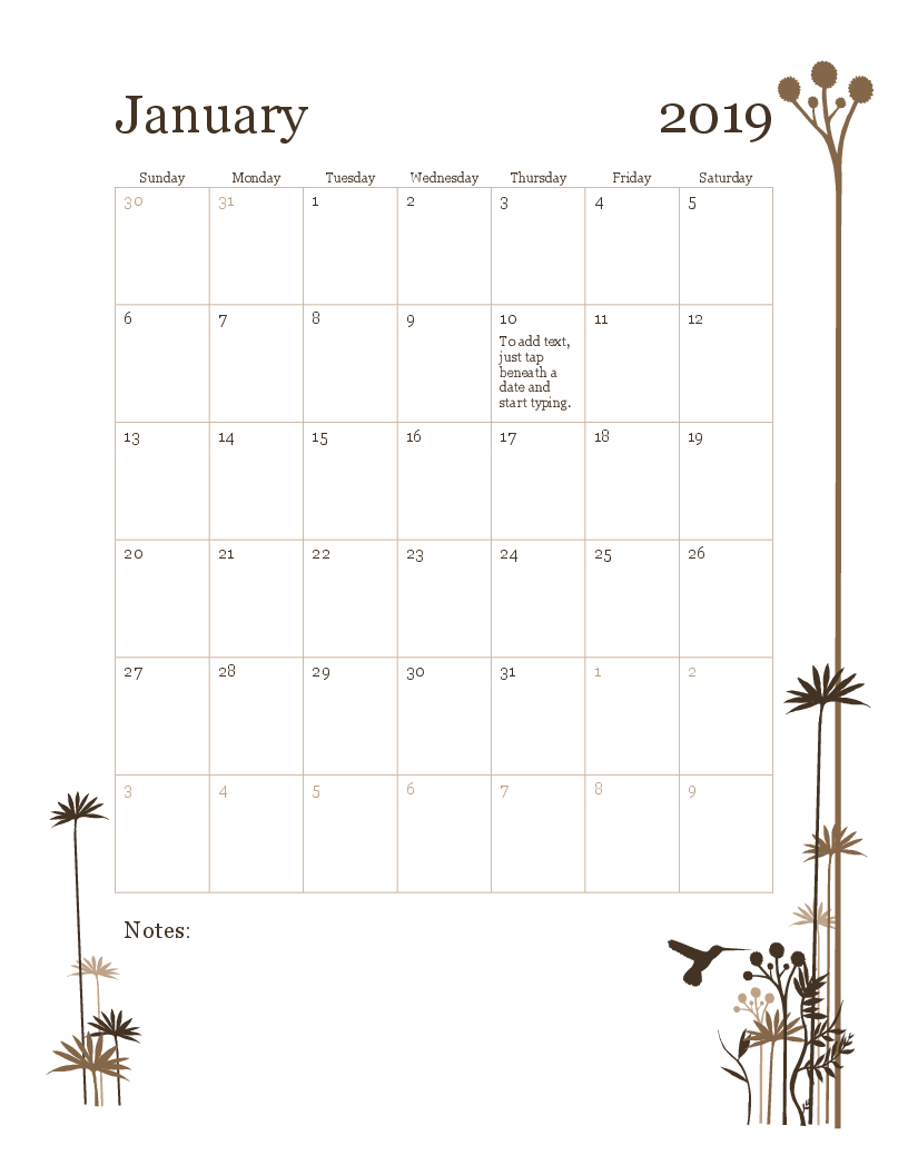 2019 12-Month Calendar (Sun-Sat) with regard to 12 Month Calendar Template Printable