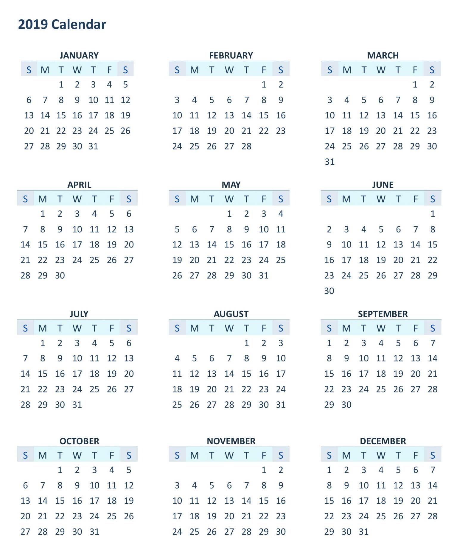 2019 12 Month Printable Calendar Yearly 12 Month Calendar 2019 in Blank Printable Calendar 12 Month