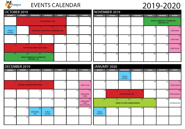 2019-20 State Event Calendar Released - Bowls Sa throughout Split Calendar 2019 2020 South Australia