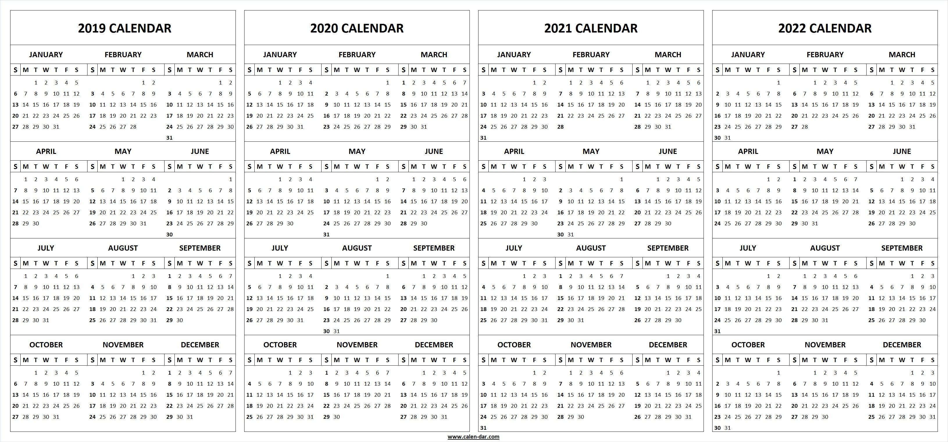 2019 2020 2021 2022 Calendar Blank Template | Calendar | 2021 with 2019 2020 Ms Word Calendar