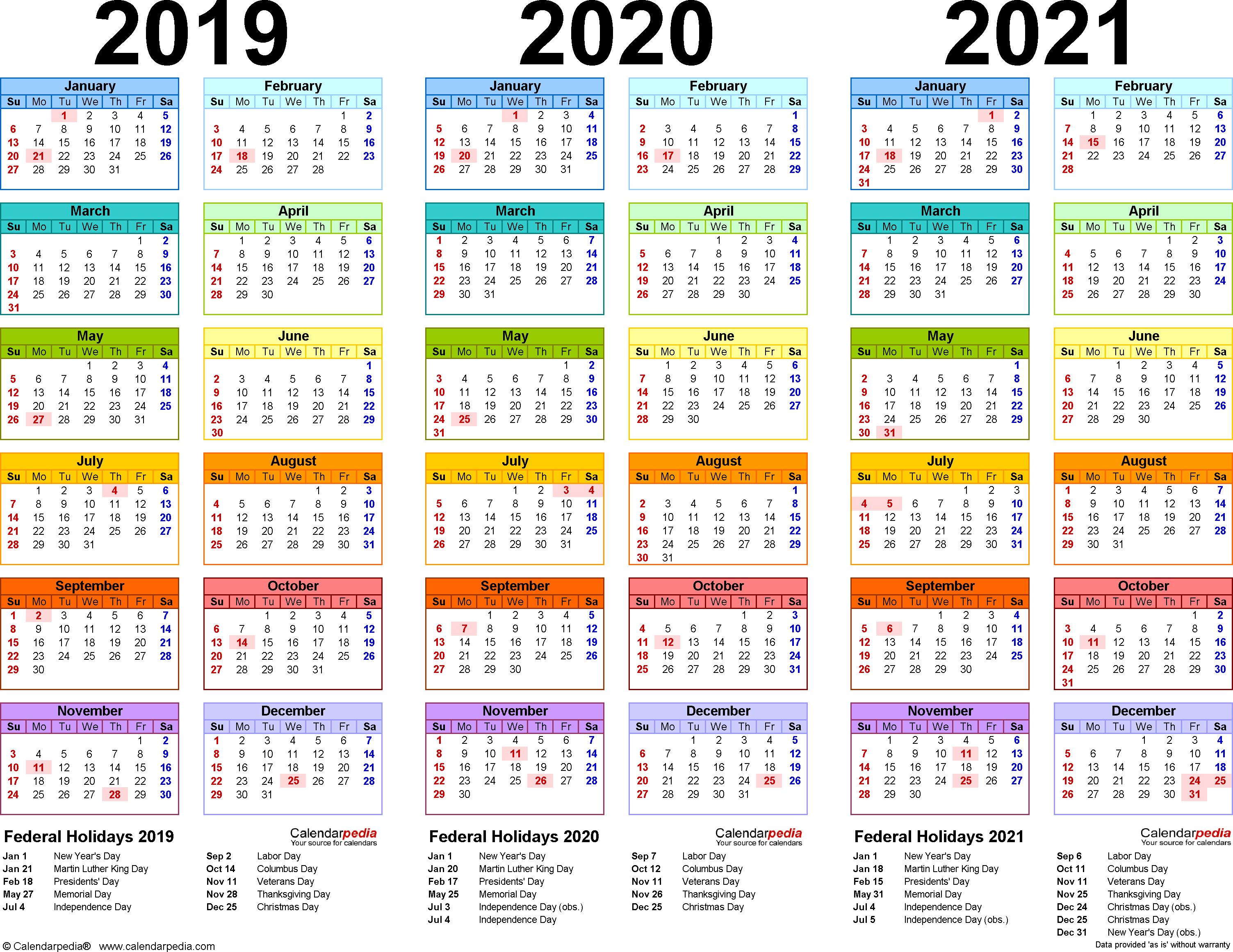 2019/2020/2021 Calendar - 4 Three-Year Printable Excel Calendars pertaining to Excel 2020 Calendar Year Formula