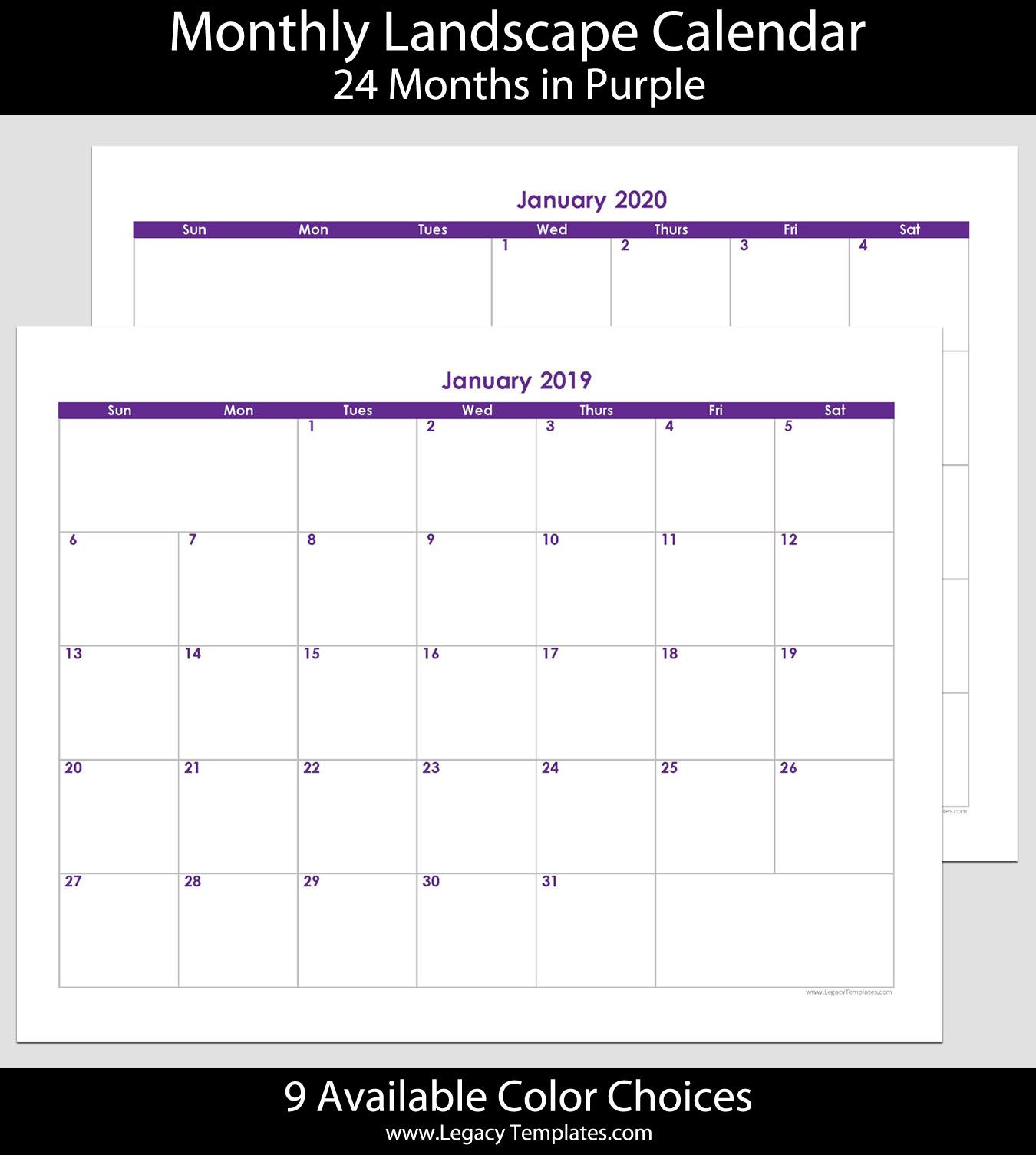 2019 & 2020 24-Month Landscape Calendar – 8.5 X 11 | Legacy Templates intended for 2020 Calendar 8.5 X 11