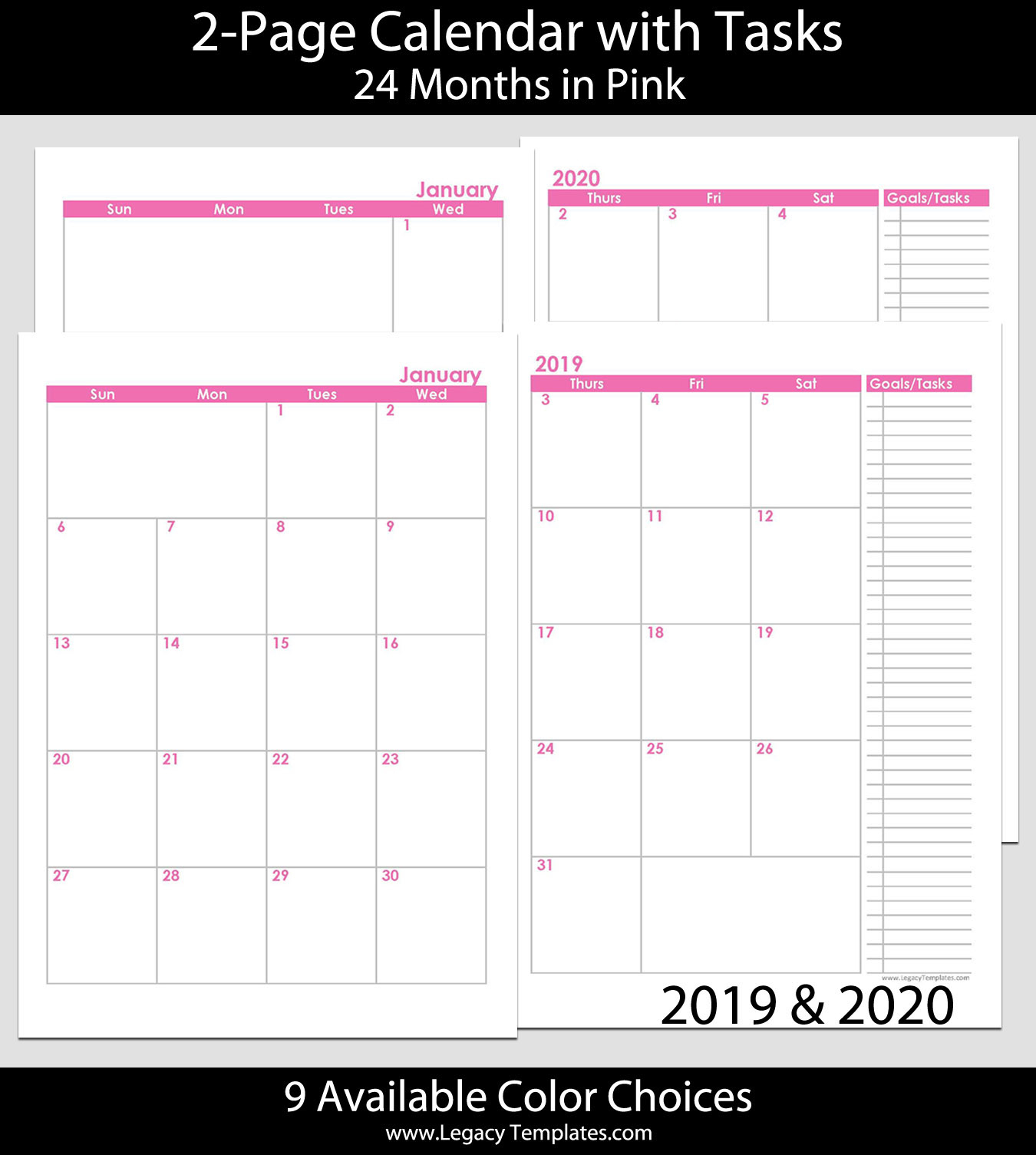 2019 & 2020 24-Months 2-Page Calendar – A5 | Legacy Templates with regard to 2020 Printable Calendar With Sunday And Saturday Pink Color