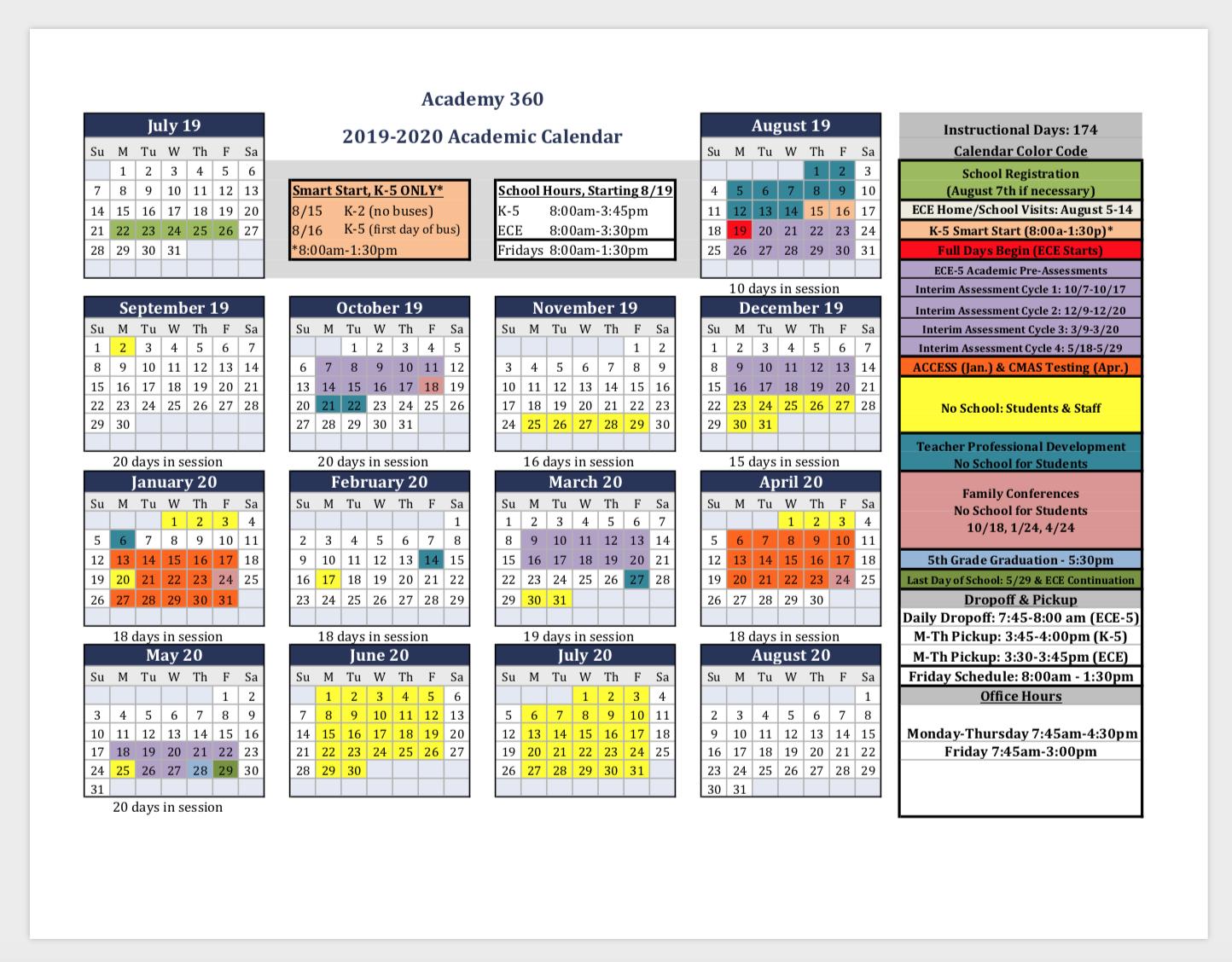 2019-2020 Academic Calendar & Back To School Important Info regarding Calendar With Special Days 2020