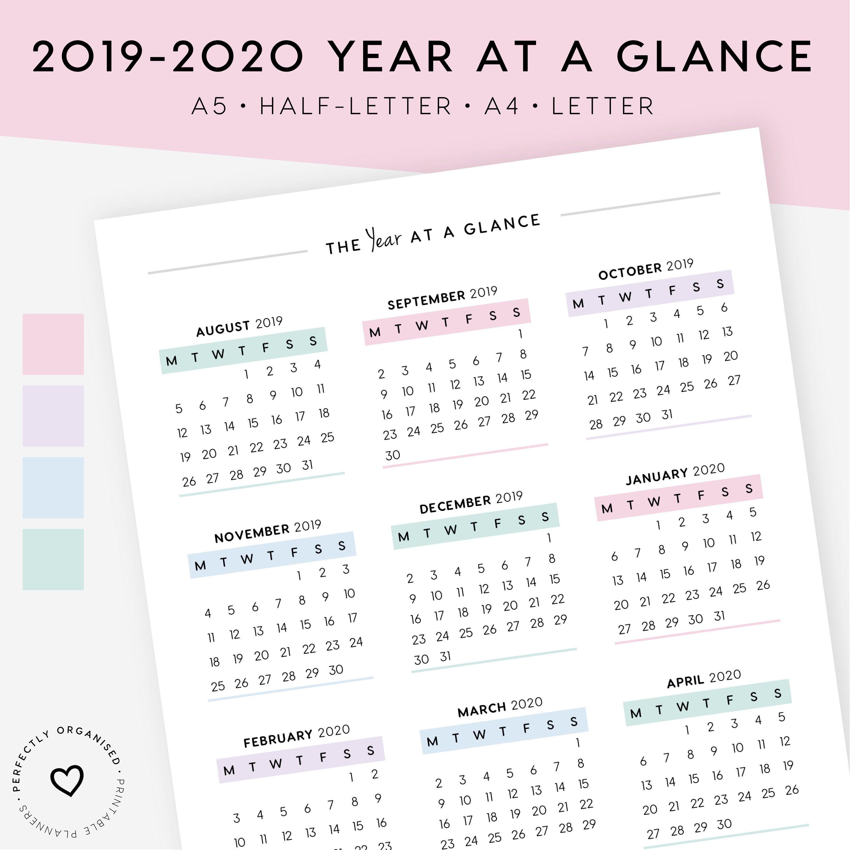 2019-2020 Academic Calendar & Important Dates Printable | 2019 Calendar,  2020 Calendar, Academic Calendar, A5, Half-Letter, A4, Letter within 2019- 2020 Academic Calendar Printable Empty Boxes