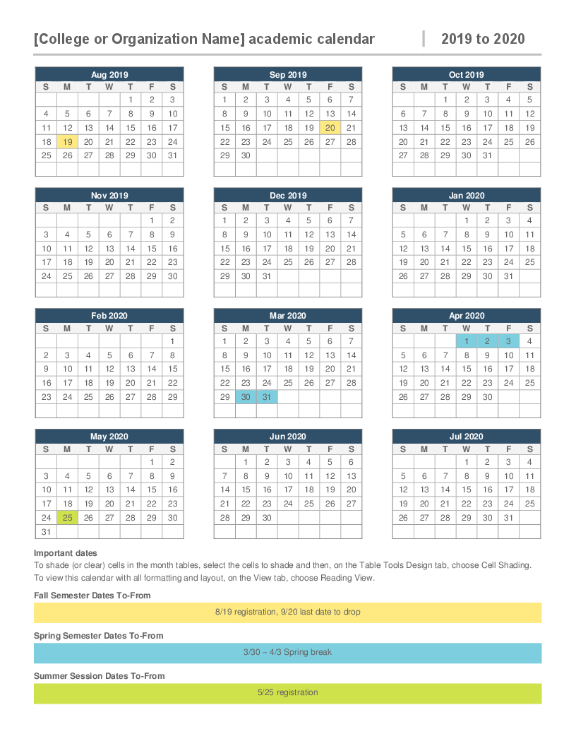 2019-2020 Academic Calendar within 1 Page Calendar 2019-2020 With Major Holidays