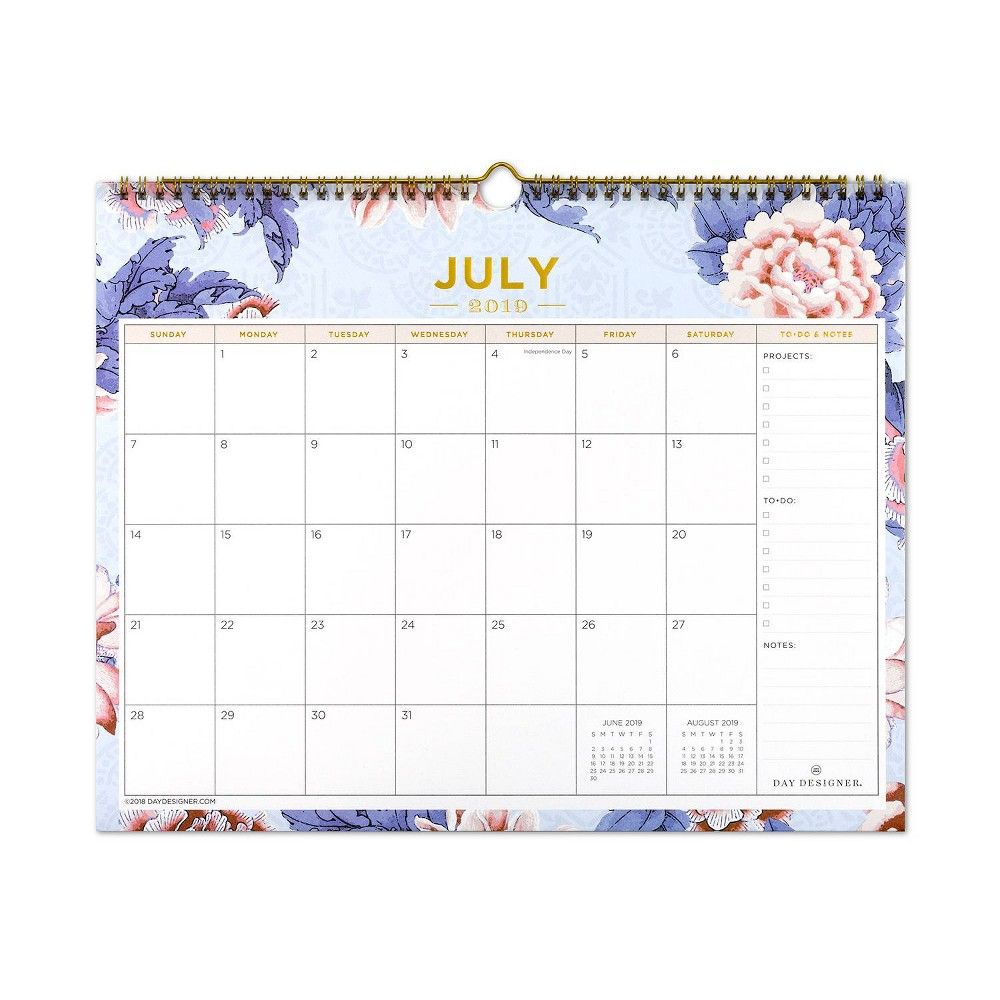 2019-2020 Academic Wall Calendar Purple Floral - Blue Sky In 2019 intended for 2020 Wall Calendar Kikki K