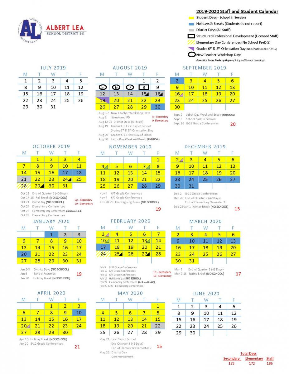 2019-2020 Approved Calendar | Albert Lea Area Schools in Special Days Of The Year 2020