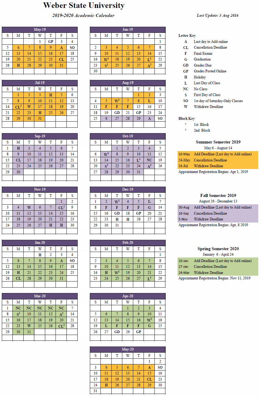2019-2020 (Approved) for U Of R Calendar 2019-2020