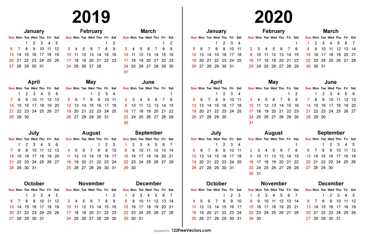 2019 2020 Calendar | 2019 Calendar | Printable Calendar Template pertaining to Free Year At A Glance Calendar 2019 2020
