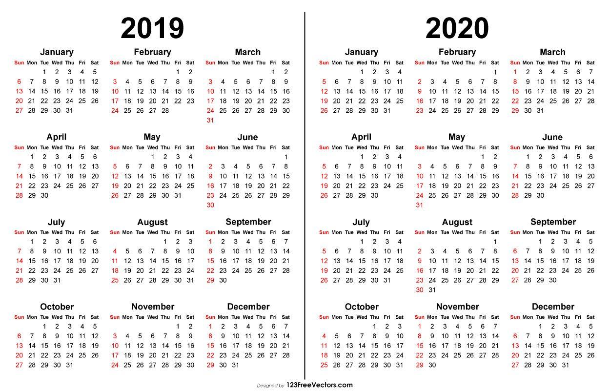 2019 2020 Calendar | 2019 Calendar | Printable Calendar Template regarding Calendar 2019 2020 Free Download