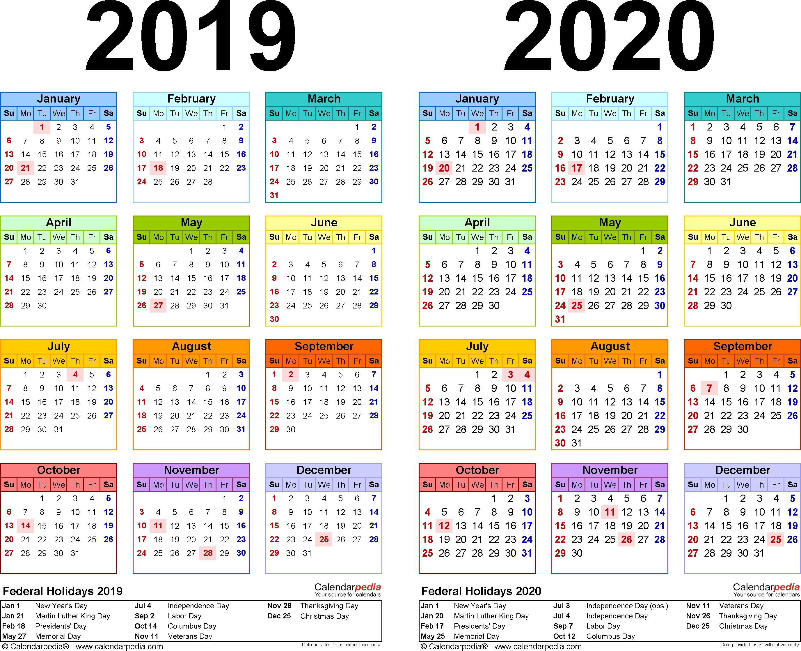 2019-2020 Calendar - Free Printable Two-Year Excel Calendars 2020 intended for 2020 Year At A Glance Free Printable Calendar