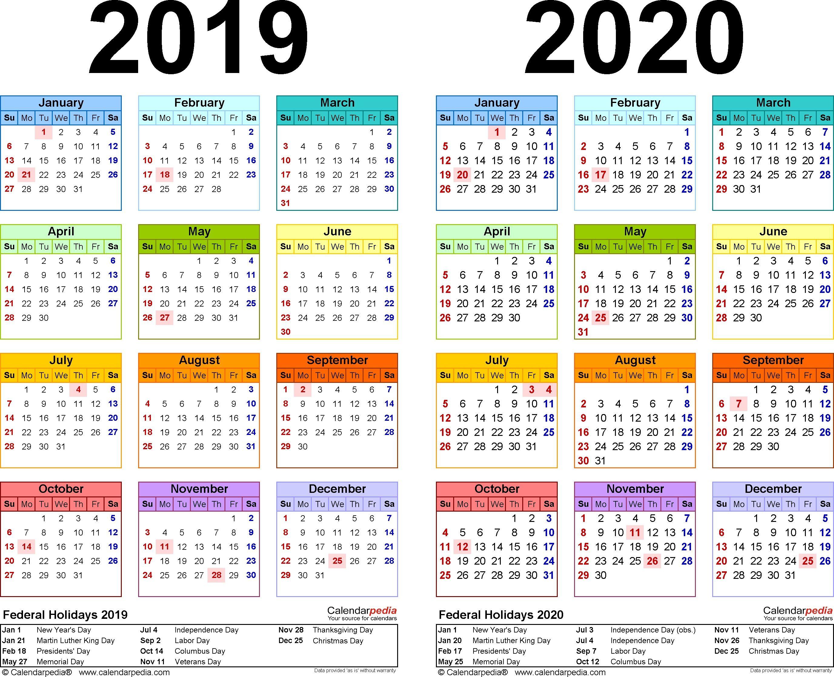 2019-2020 Calendar - Free Printable Two-Year Excel Calendars 2020 pertaining to 2020 Calendar Printable Free Pdf