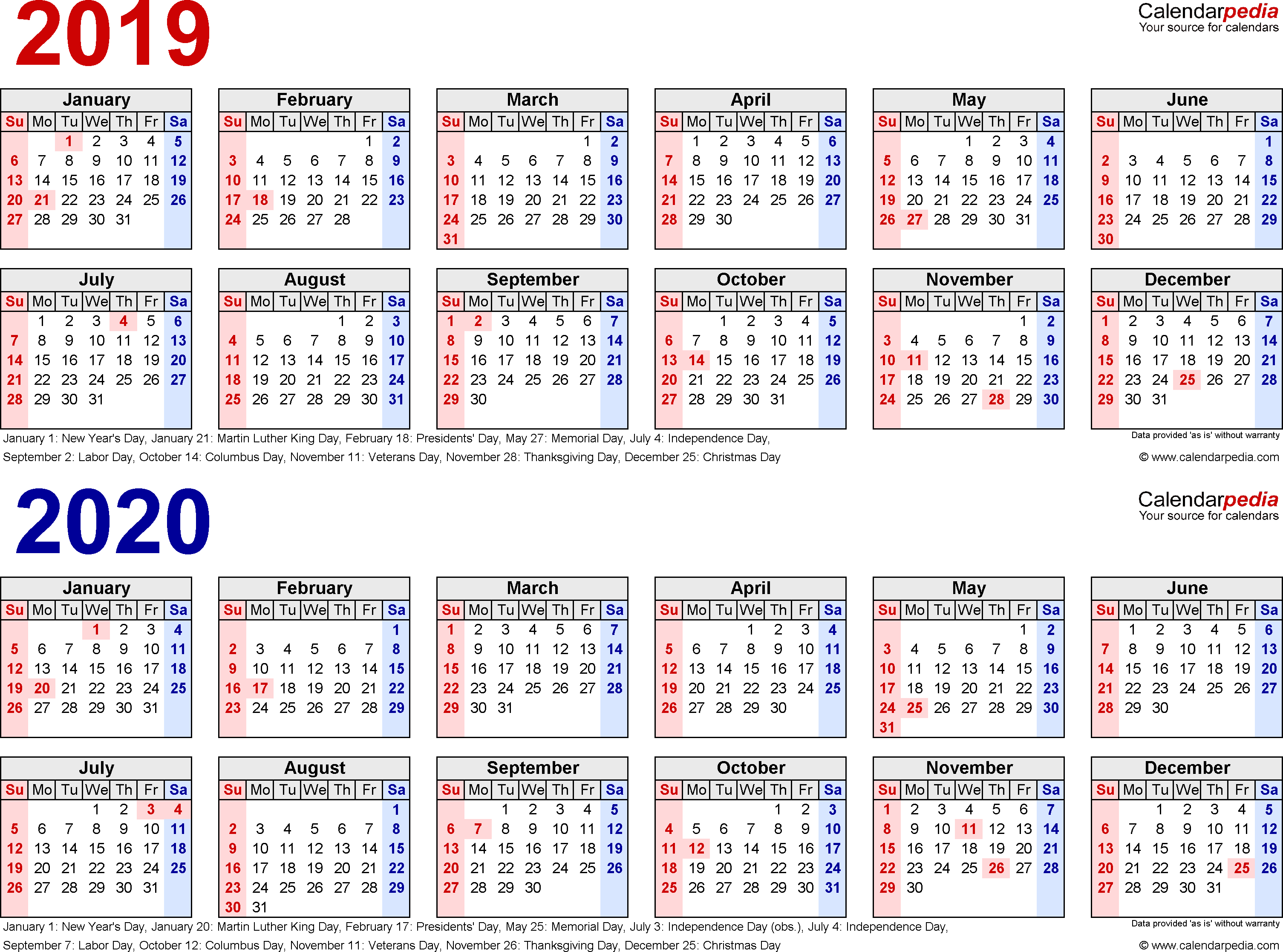 2019-2020 Calendar - Free Printable Two-Year Pdf Calendars in 1 Page Calendar 2019-2020 With Major Holidays