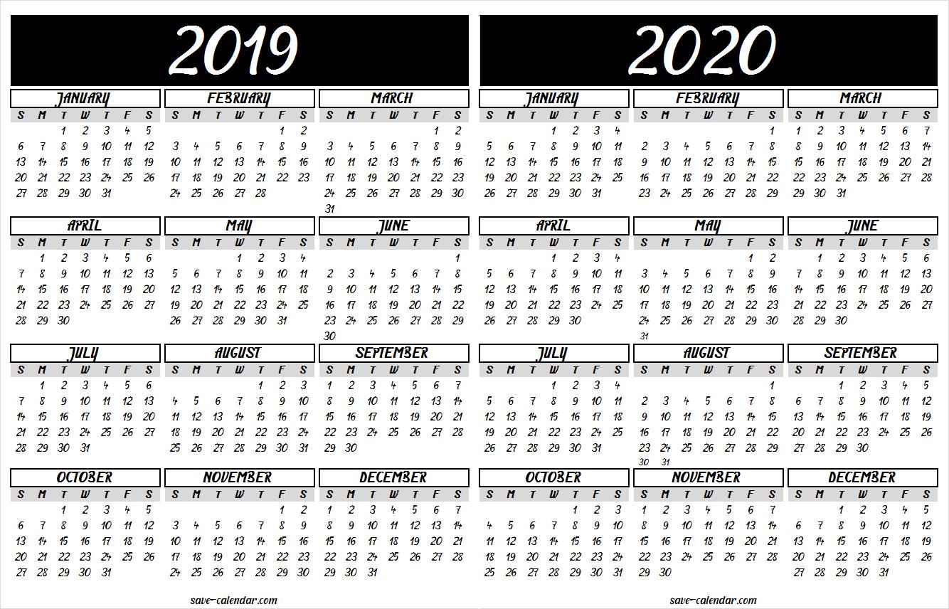 2019 2020 Calendar Printable | 2019 Calendar | Calendar 2020, Free in 2019-2020 Blank Calendar To Print
