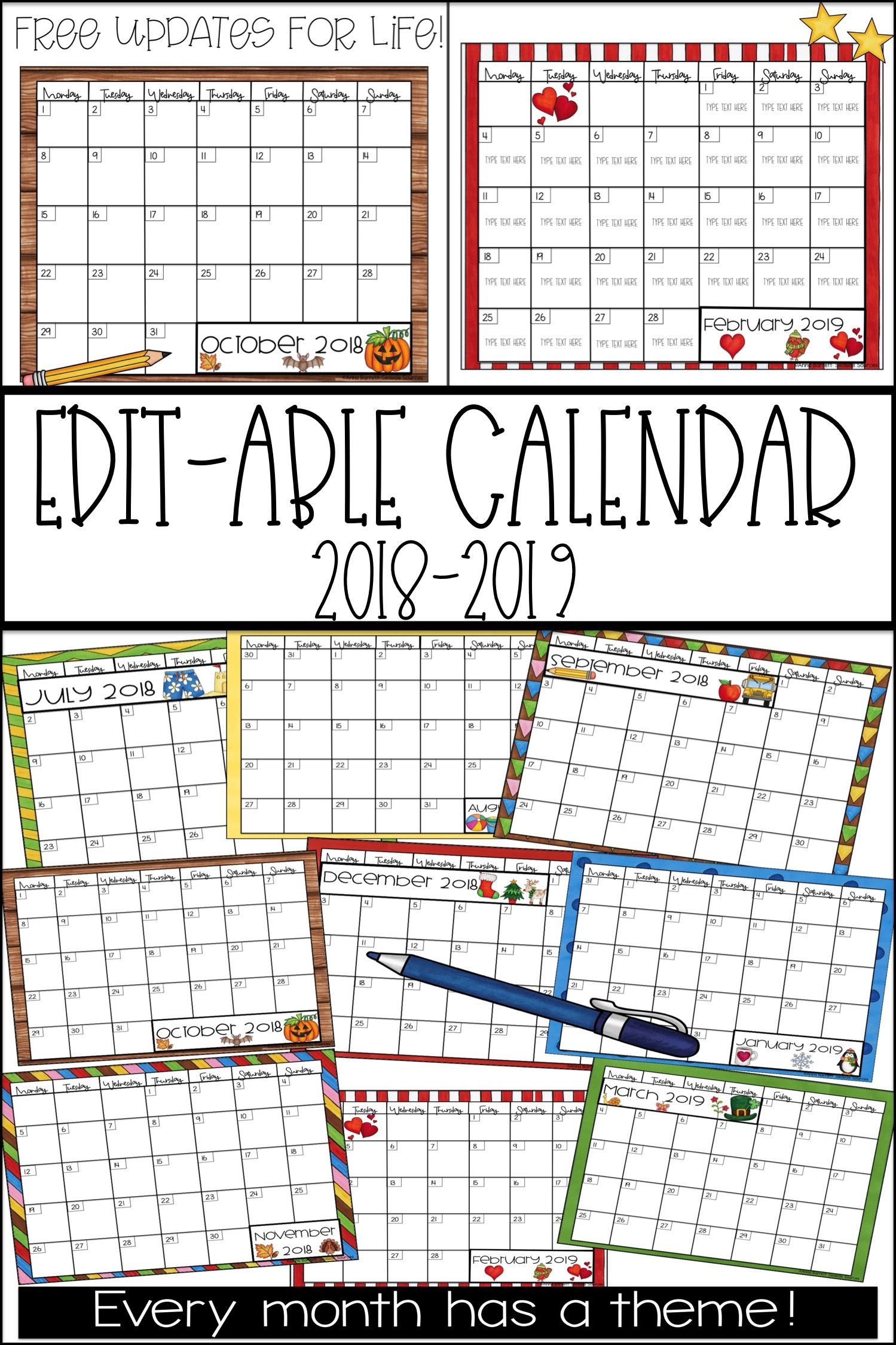 2019-2020 Calendar Printable | Classroom Ideas & Resources pertaining to Calendar For 2019 And 2020 To Edit