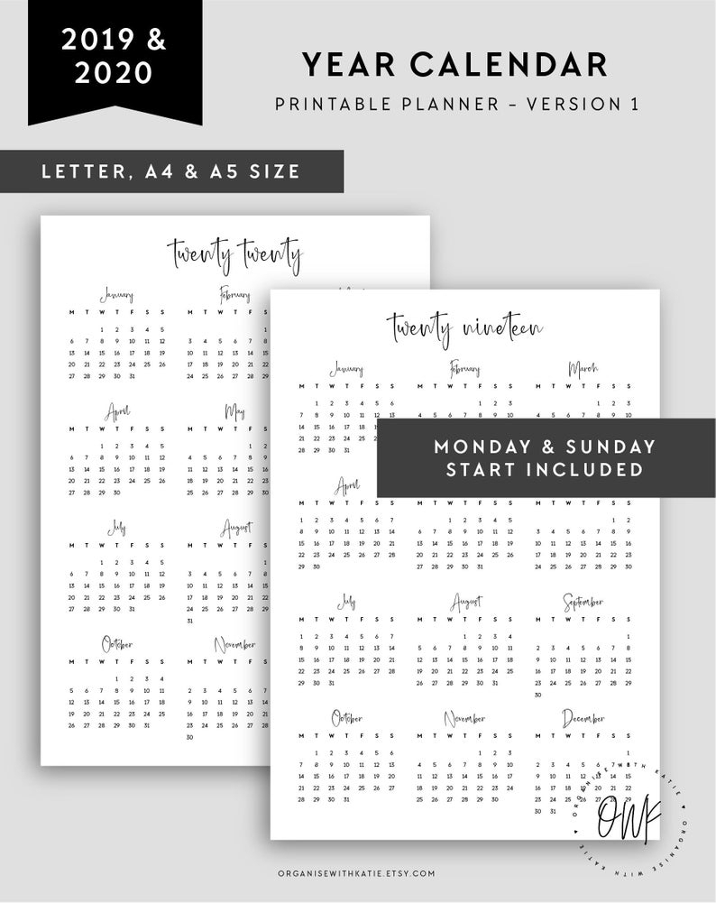 2019-2020 Calendar Printable, Year Overview, A4 Letter A5 Printable  Calendar, 2019 2020, Monthly Page, Year At A Glance Monday Sunday Start in 2020 Calendar Monday To Sunday