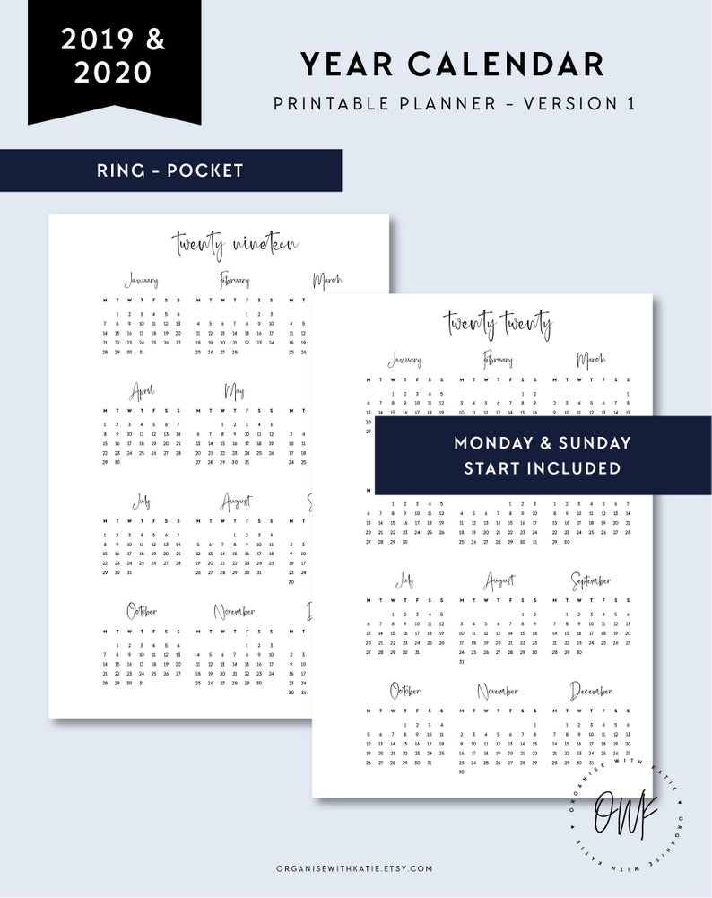 2019-2020 Calendar Printable, Year Overview, Pocket Rings Printable  Calendar, 2019 2020, Monthly Page, Year At A Glance Monday Sunday Start for Year At A Glance 2020