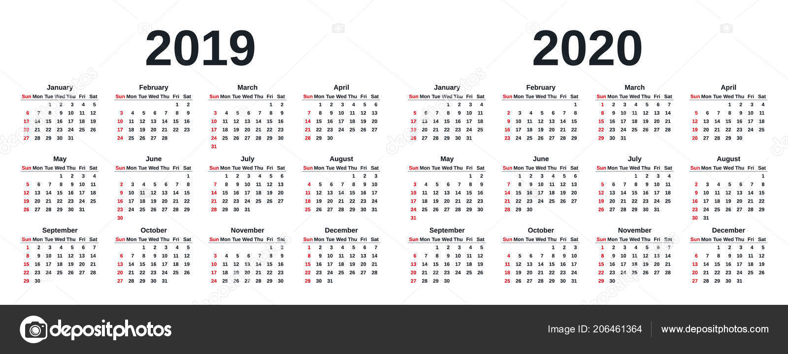 2019 2020 Calendar Vector Graphics Week Starts Sunday Design intended for 2020 Calendar Monday To Sunday
