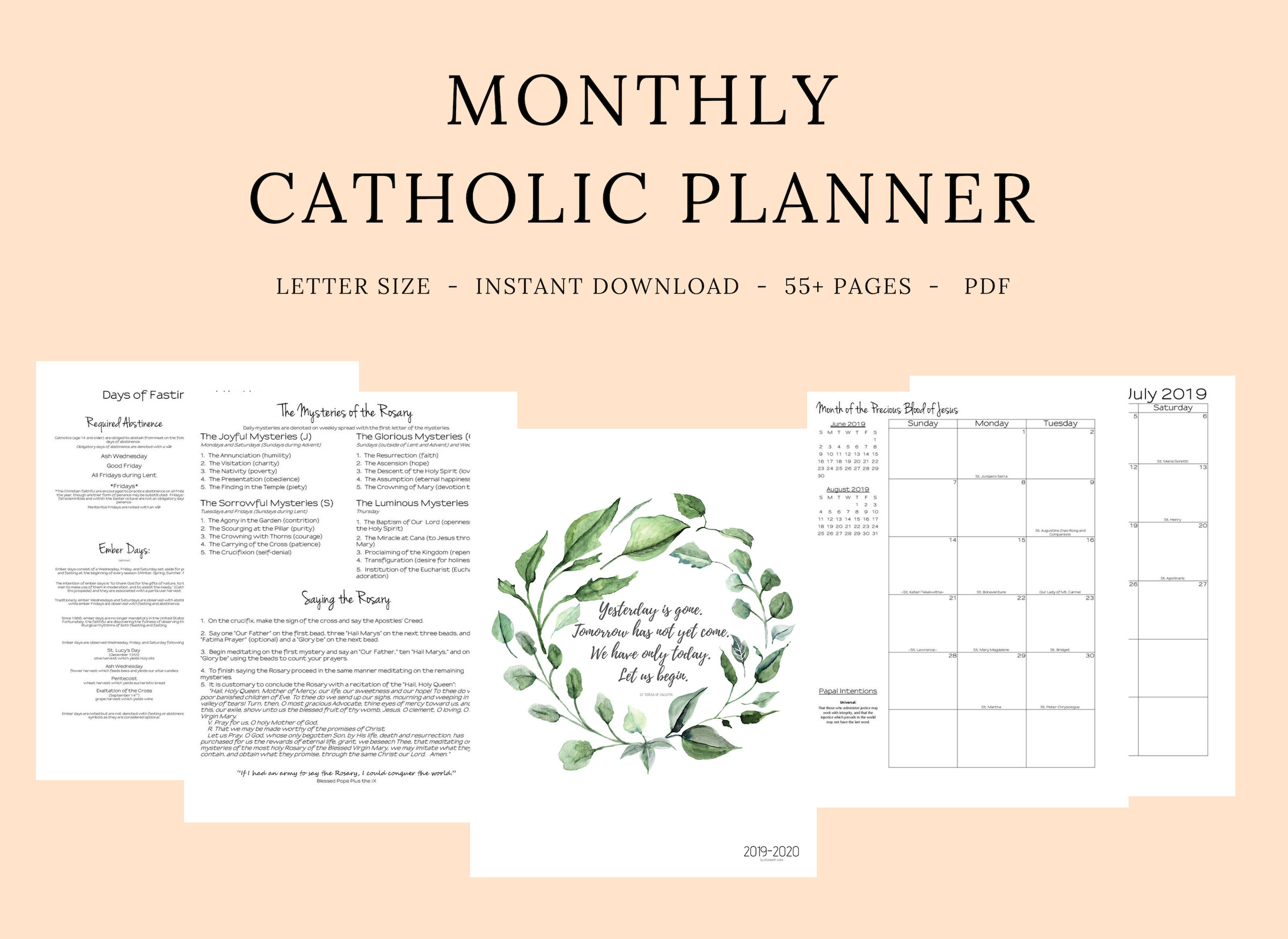 2019 2020 Catholic Planner Monthly Printable: Monthly | Etsy with Free Catholic Liturgical Calendar For 2020