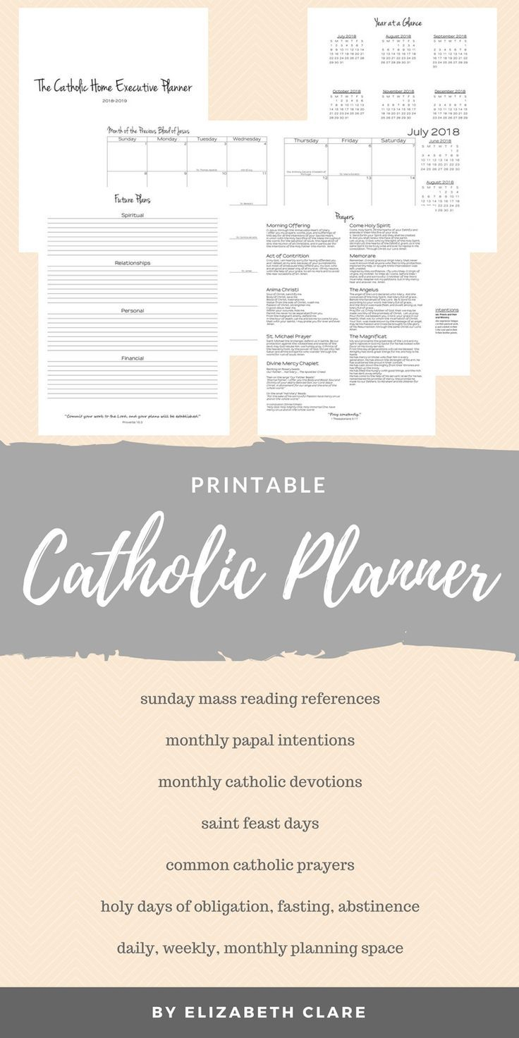 2019 - 2020 Catholic Planner Weekly Printable: Daily Planner pertaining to Free Catholic Liturgical Calendar For 2020