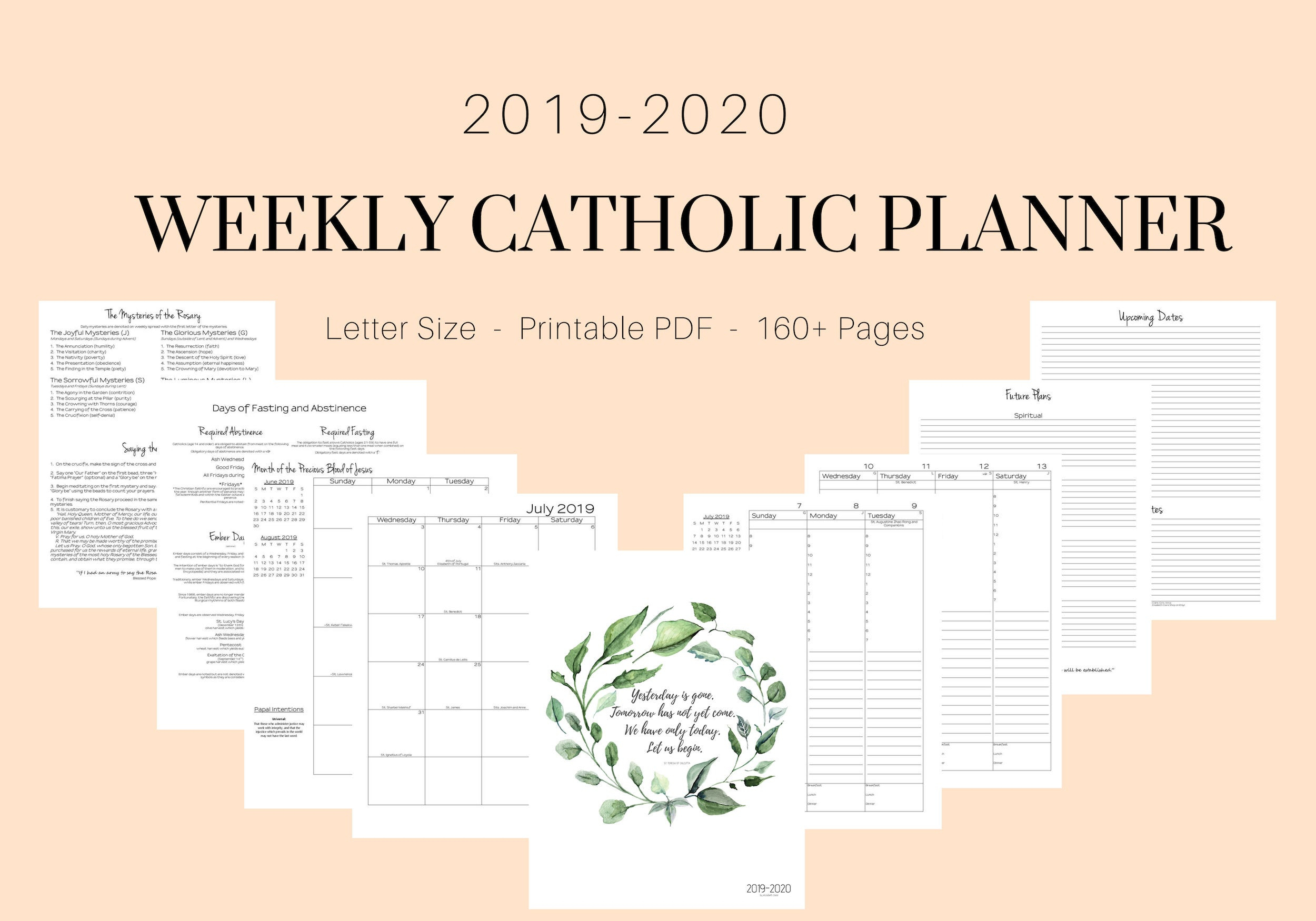 2019 - 2020 Catholic Planner Weekly Printable: Daily Planner / Weekly  Calendar / Liturgical Planner / Printable Catholic Planner with regard to Catholic Liturgical Calendar Year C 2019-2020