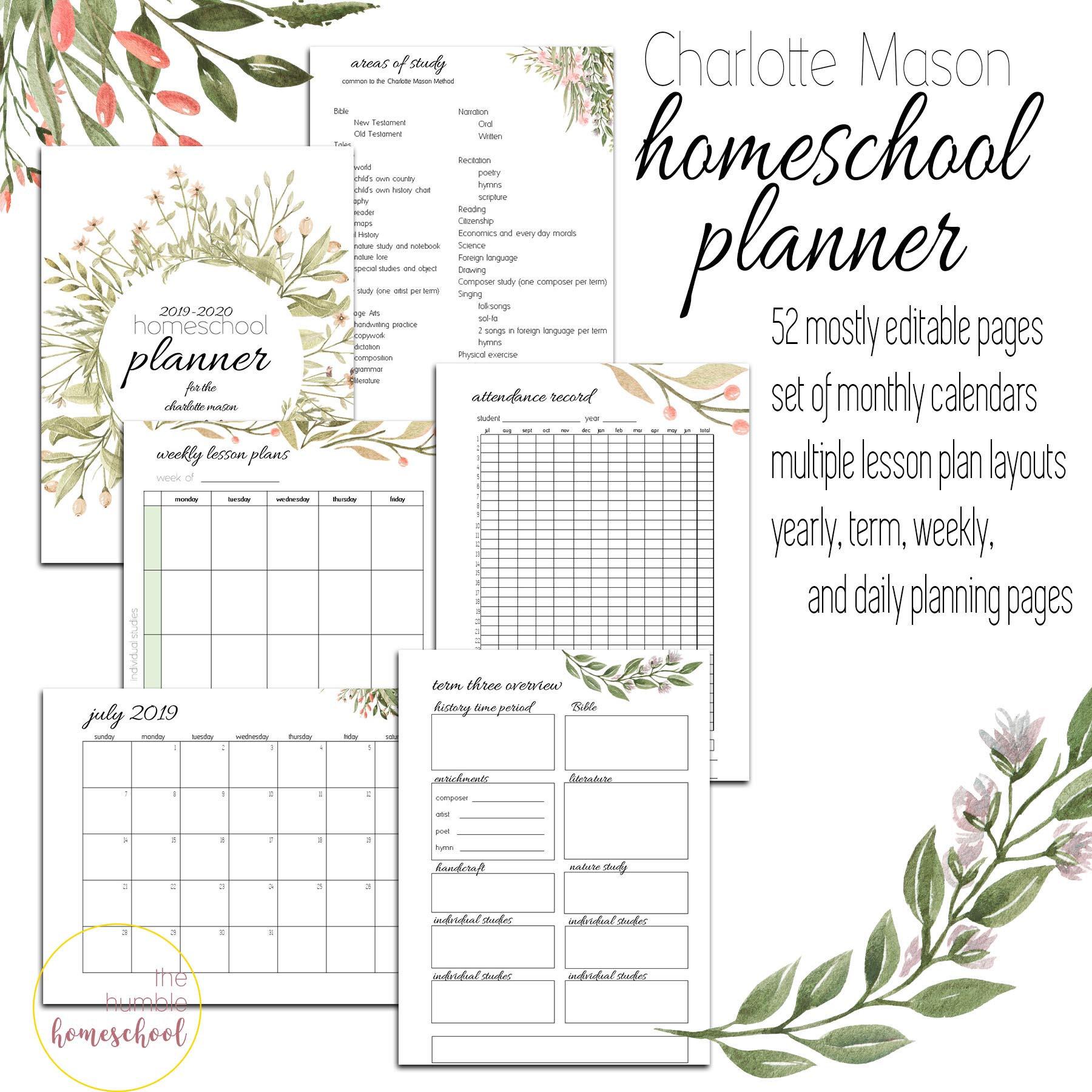 2019-2020 Charlotte Mason Homeschool Planner- Editable Homeschool Planning  Printables throughout Homeschool Year At A Glance 2019-2020 Botanical Calendar Printable Free