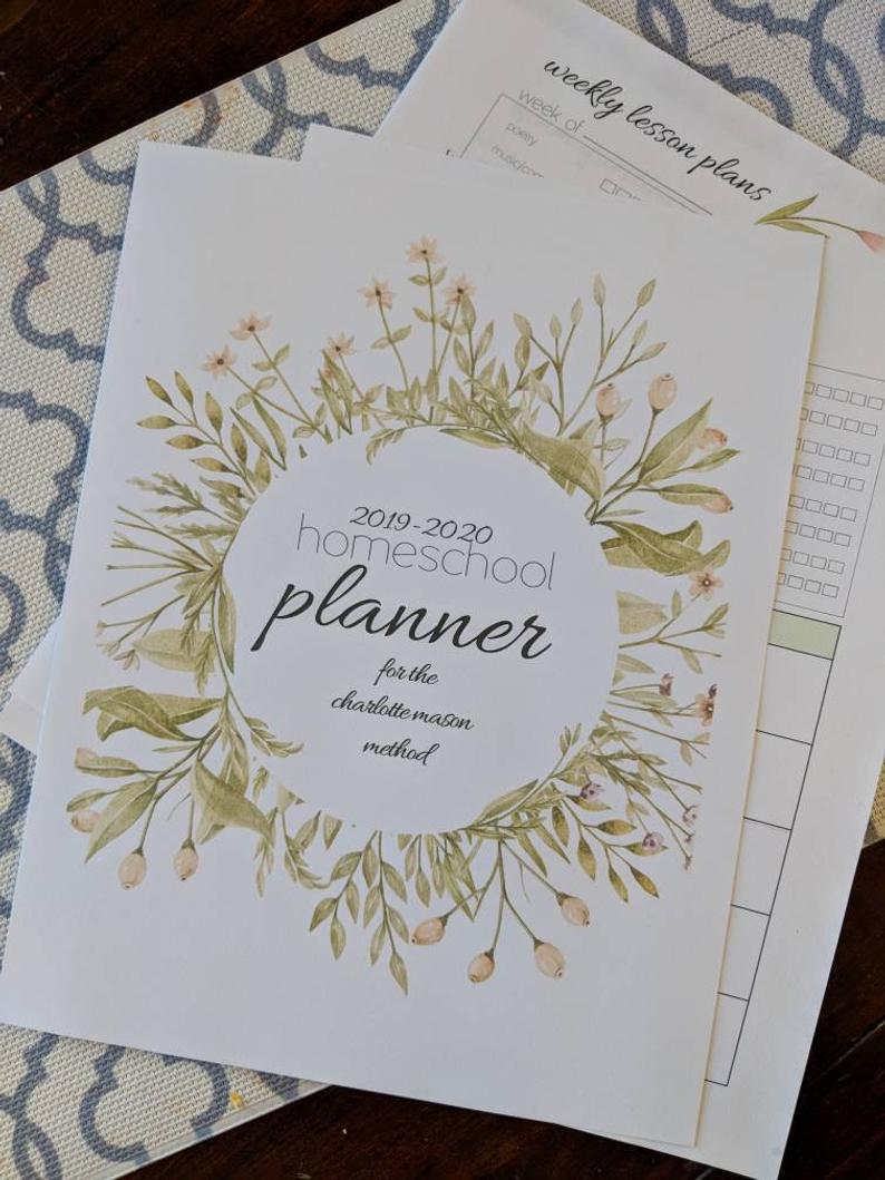 2019-2020 Charlotte Mason Homeschool Planner- Editable Homeschool Planning  Printables with Homeschool Year At A Glance 2019-2020 Botanical Calendar Printable Free