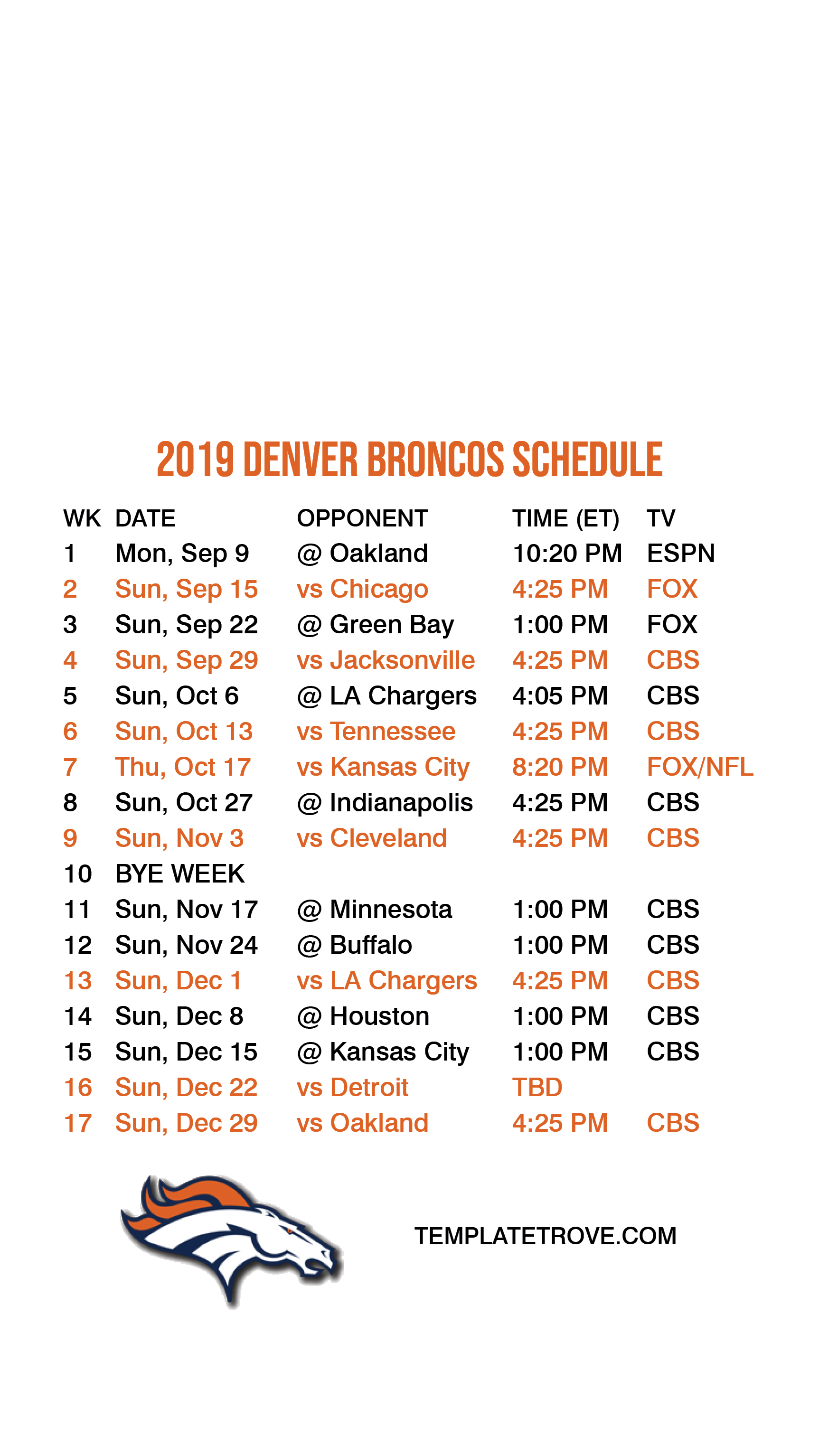 picture about Nfl Week 7 Printable Schedules called Totally free Printable 2019-2020 Nfl Time Timetable Calendar