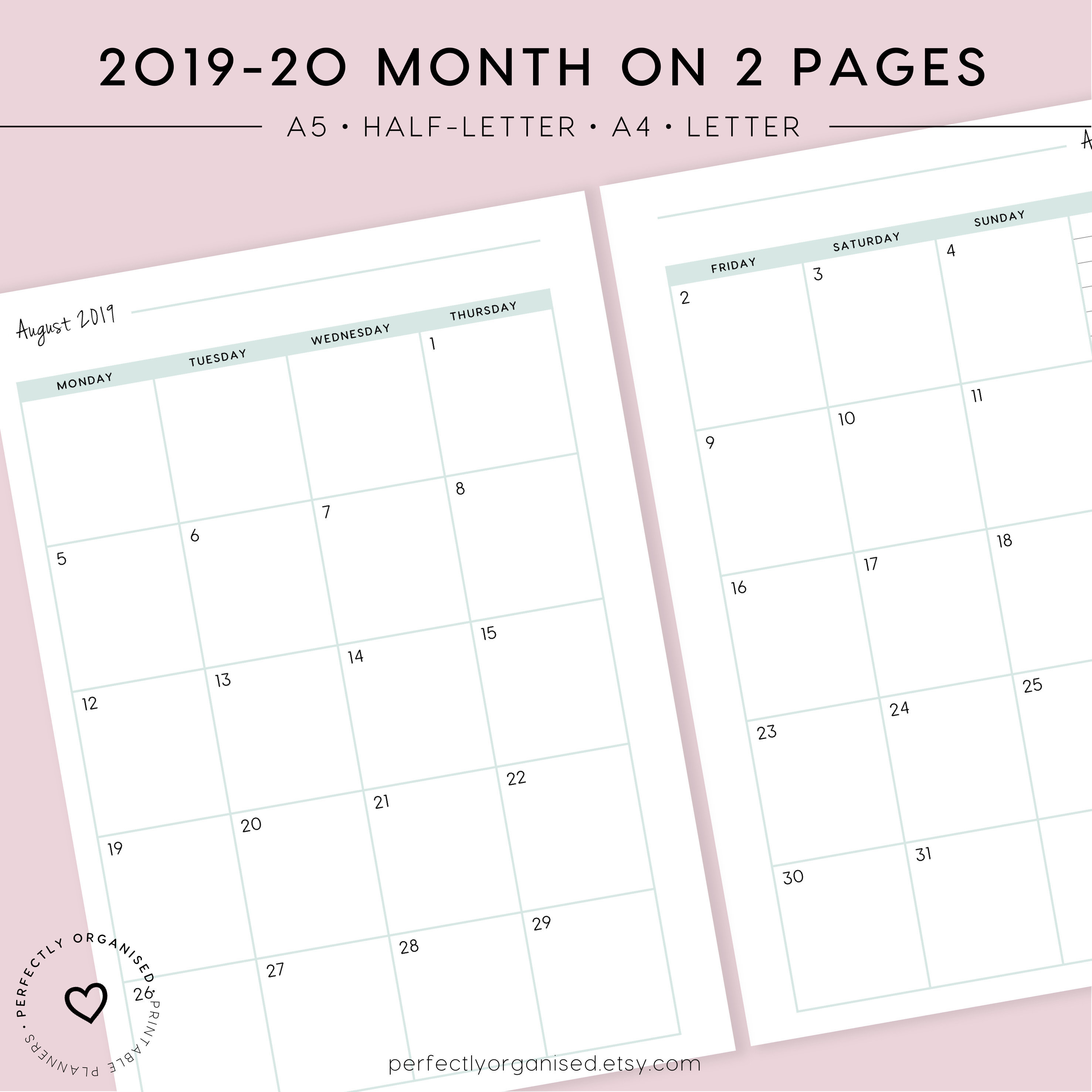 2019-2020 Month On 2 Pages Printable | Monthly Planner, Monthly Inserts,  Monthly Calendar, Pastel, A5, Half-Letter, A4, Letter intended for Monthly Printable Calendars 2020 Half Page