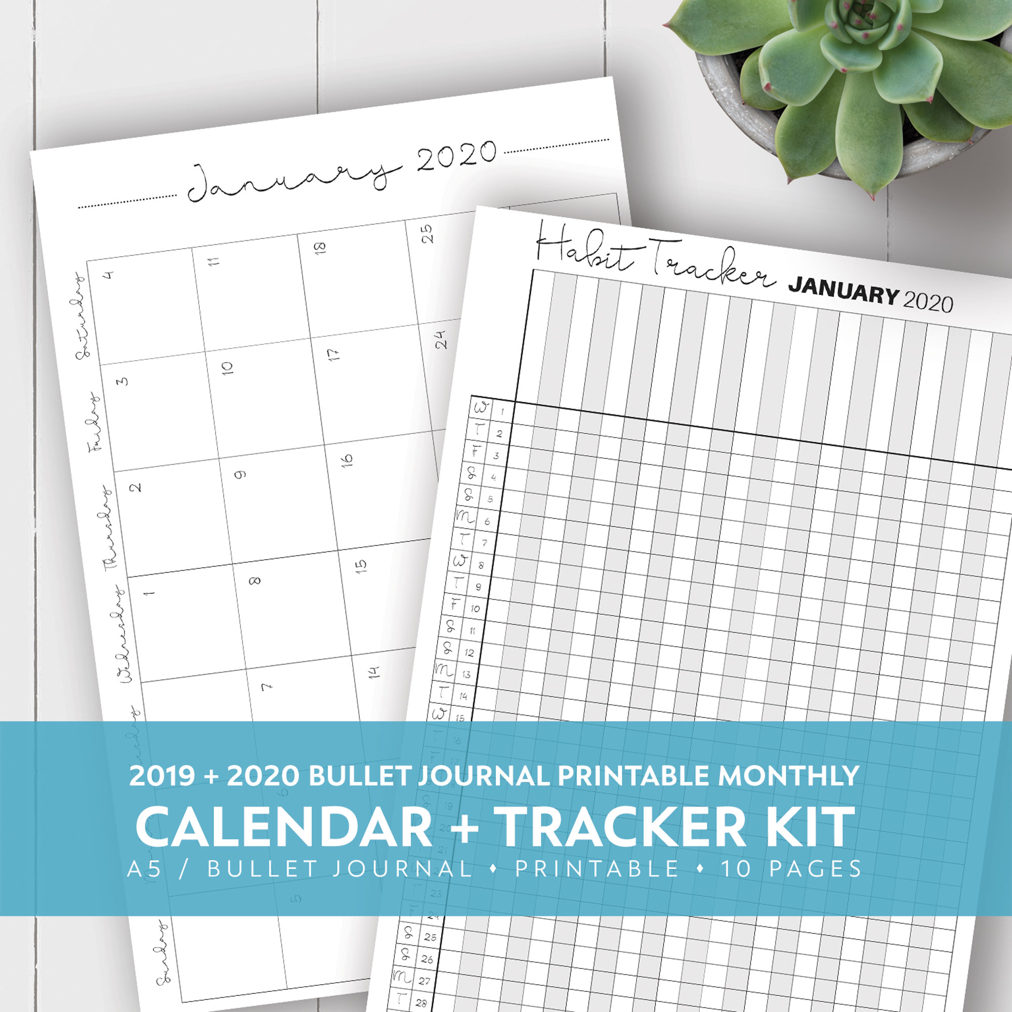 2019 + 2020 Monthly Printable Calendar + Habit Tracker Kit in Free Yearly 5.5 X 8.5 Calendar 2020