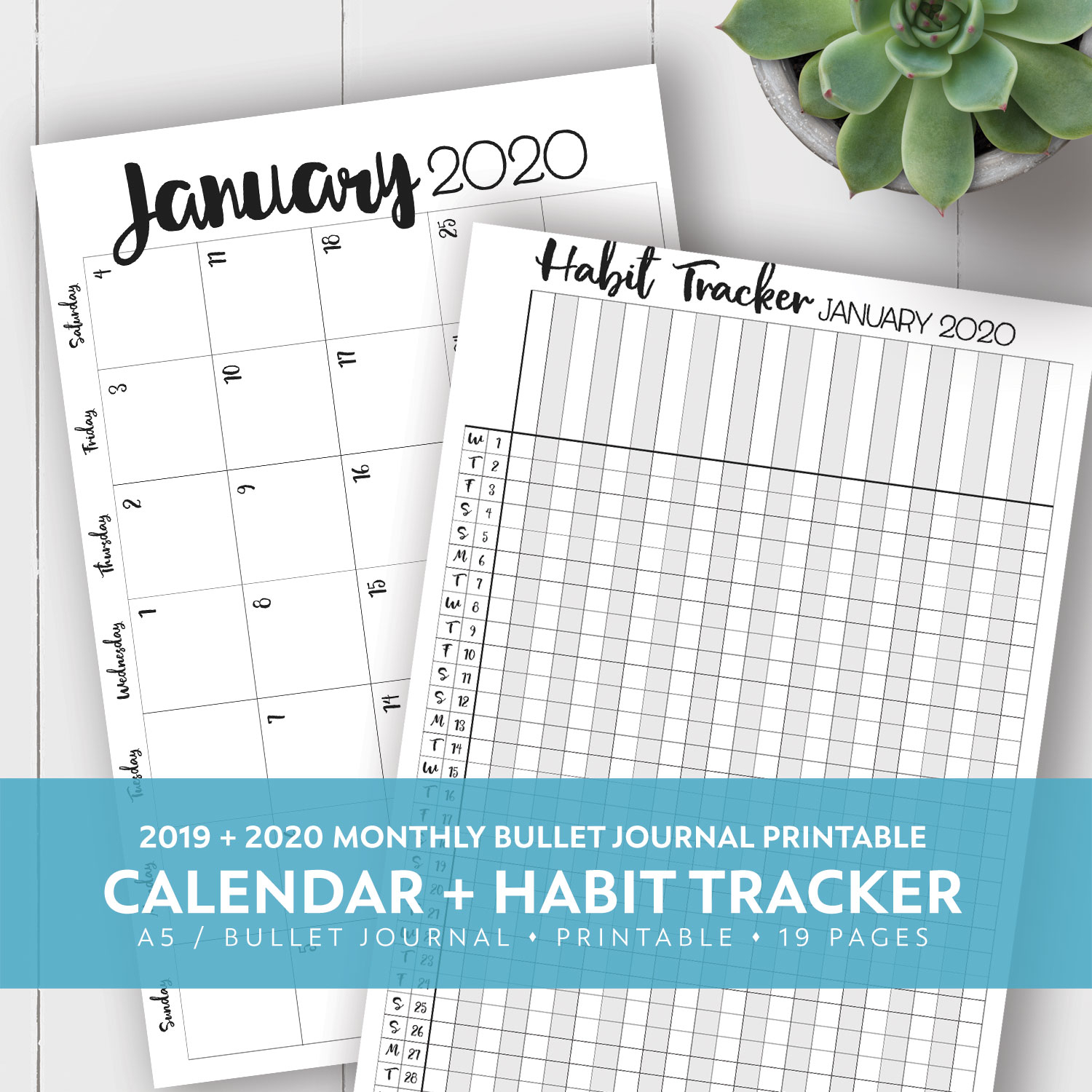 2019 + 2020 Monthly Printable Calendar + Habit Tracker Kit throughout Printable Month To Month Clalanders Wityh Lines 2019/2020