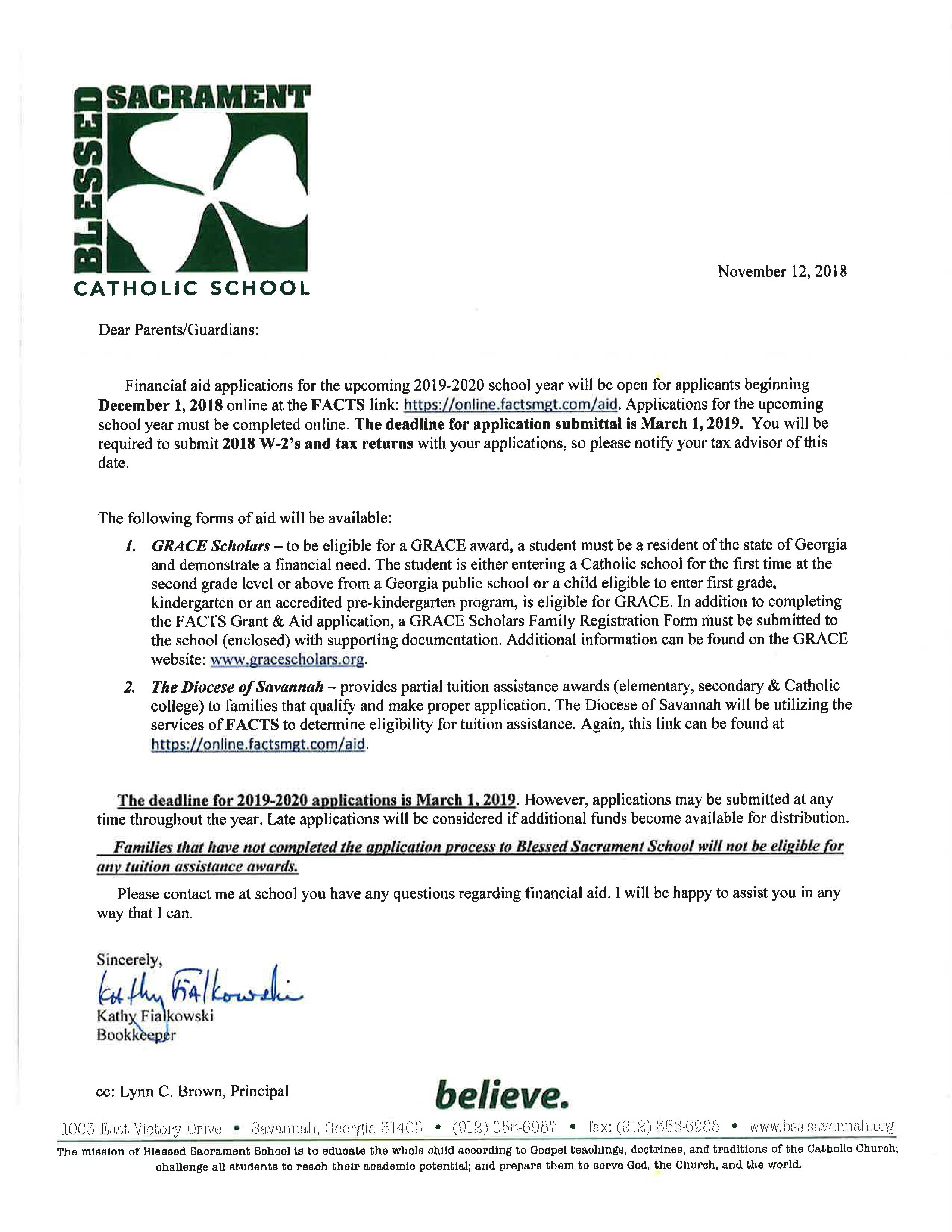 2019-2020 Parent Letter - Blessed Sacrament Catholic School inside Catholic Liturgical Calendar Year C 2019-2020