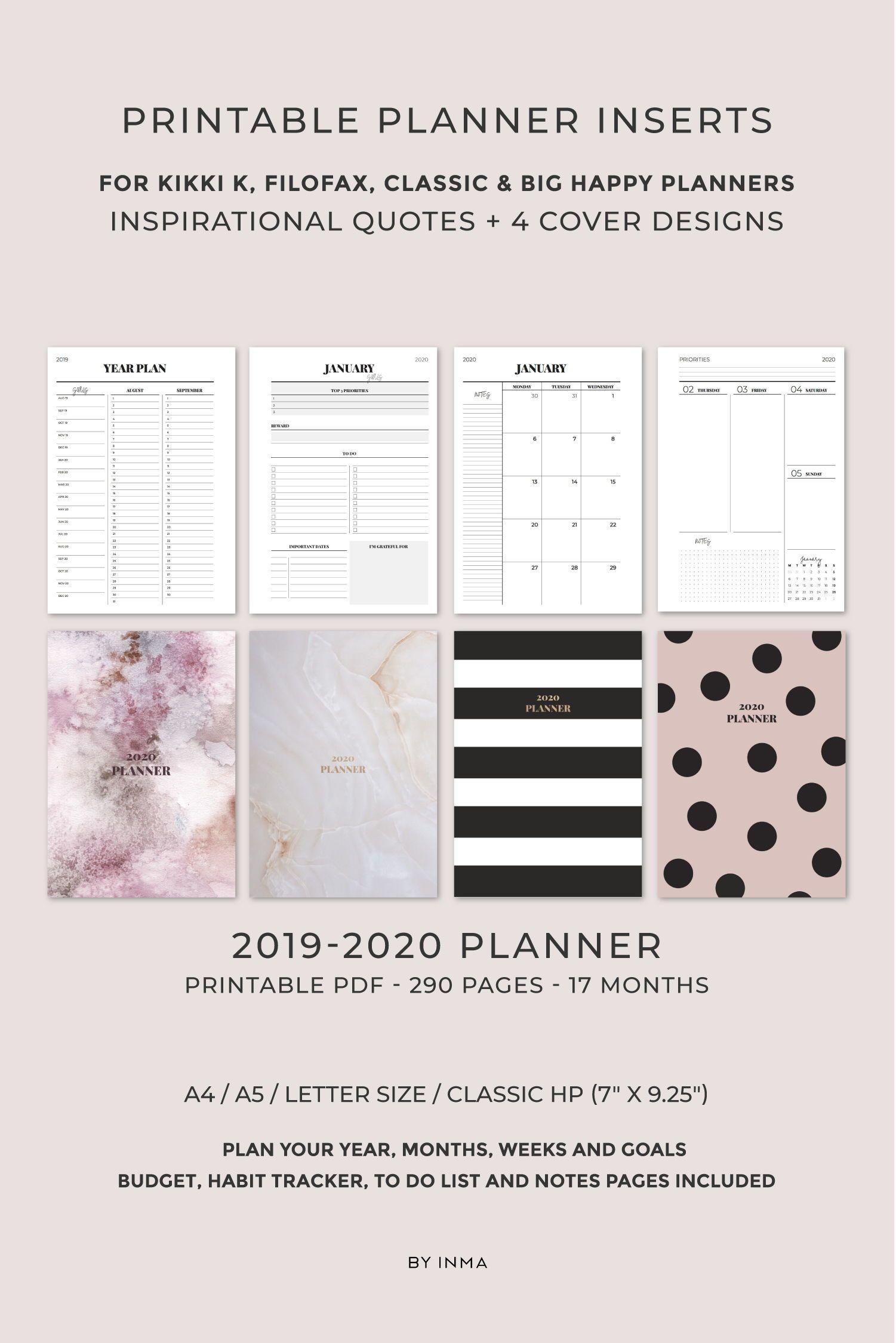 2019 2020 Planner Printable, Minimalist Planner, Monthly Planner within 2020 Wall Calendar Kikki K