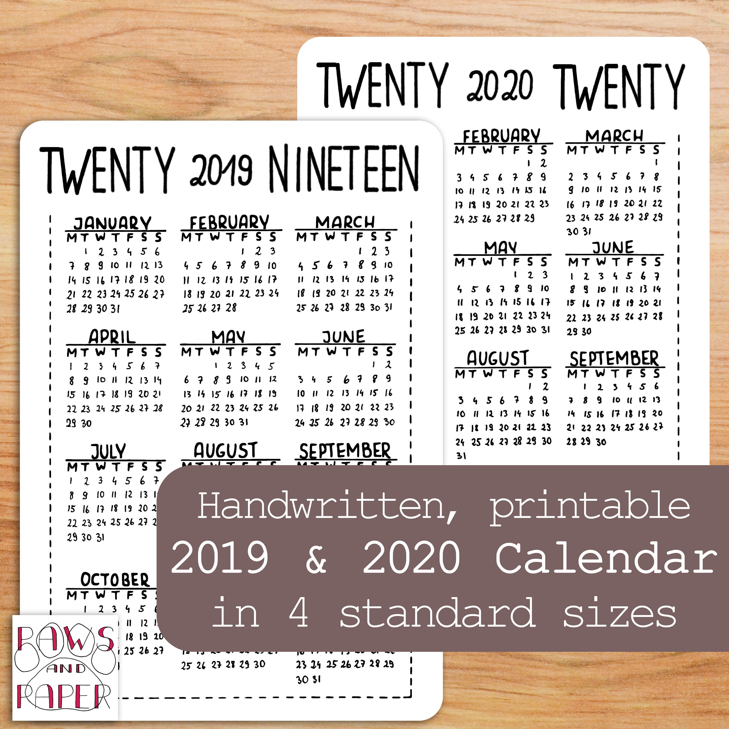 2019 2020 Printable Calendar, Year At A Glance, Planner, Bullet Journal  Kit, Planner Inserts, 2019 2020 Planner, Handwritten, 4 Sizes, Bujo regarding 2020 Printable Year At A Glance Calendar