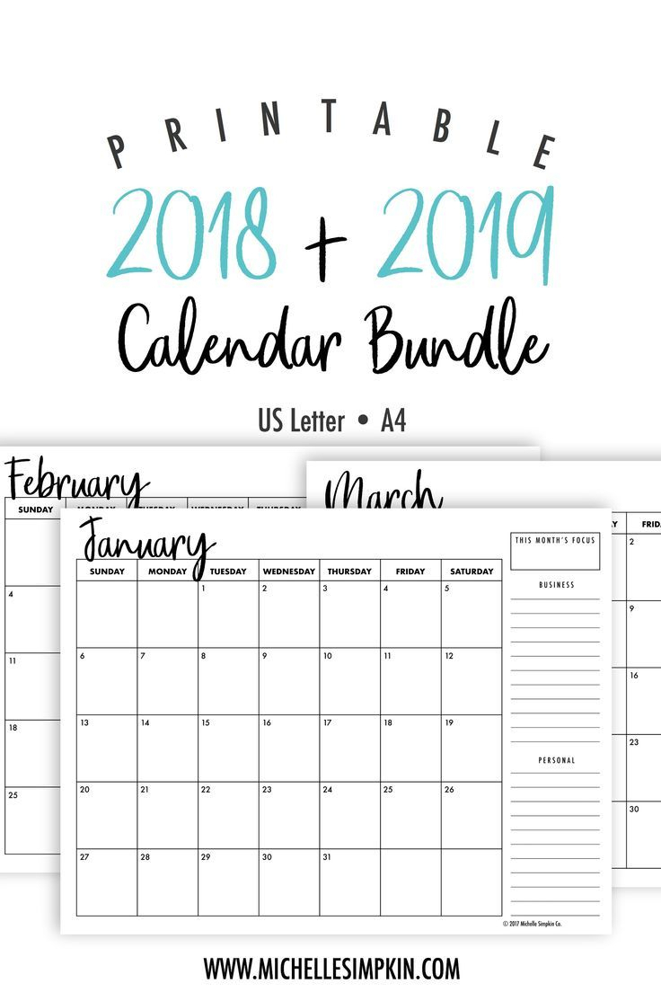 2019 & 2020 Printable Monthly Calendars Bundle • Landscape • Us for 2020Printable Monday Through Sunday Calendars