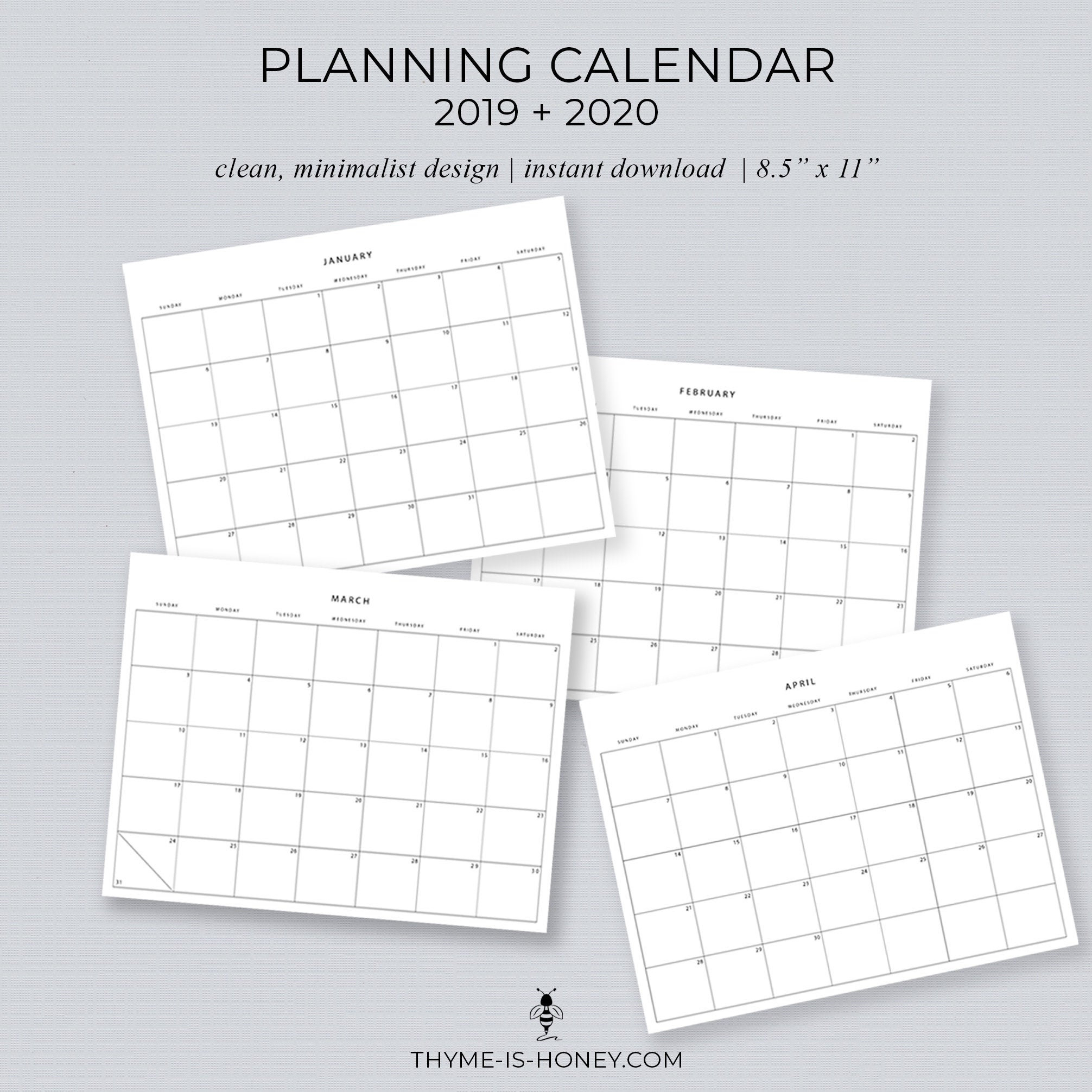 "2019 + 2020 Printable Planning Calendars - 11 X 8.5"" throughout 2020 Calendar For 5.5 X 8.5"