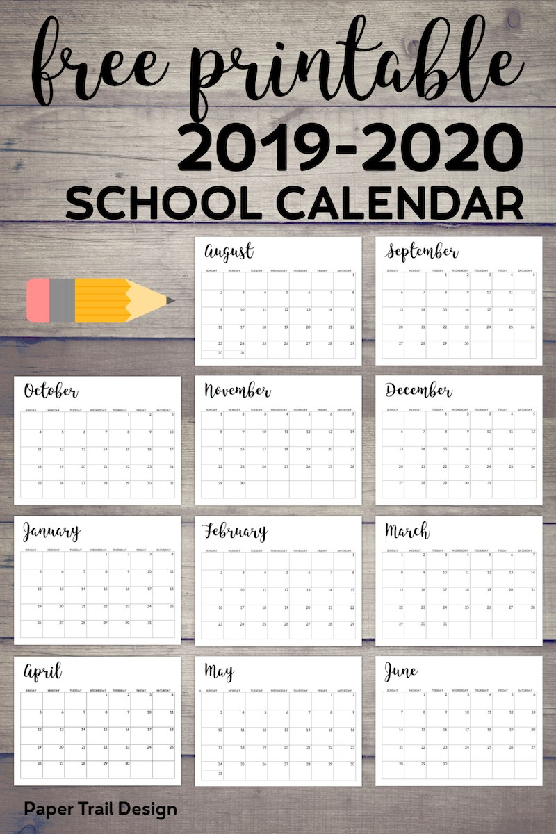 2019-2020 Printable School Calendar - Paper Trail Design in Year At A Glance Calendar School Year 2019-2020 Free Printable