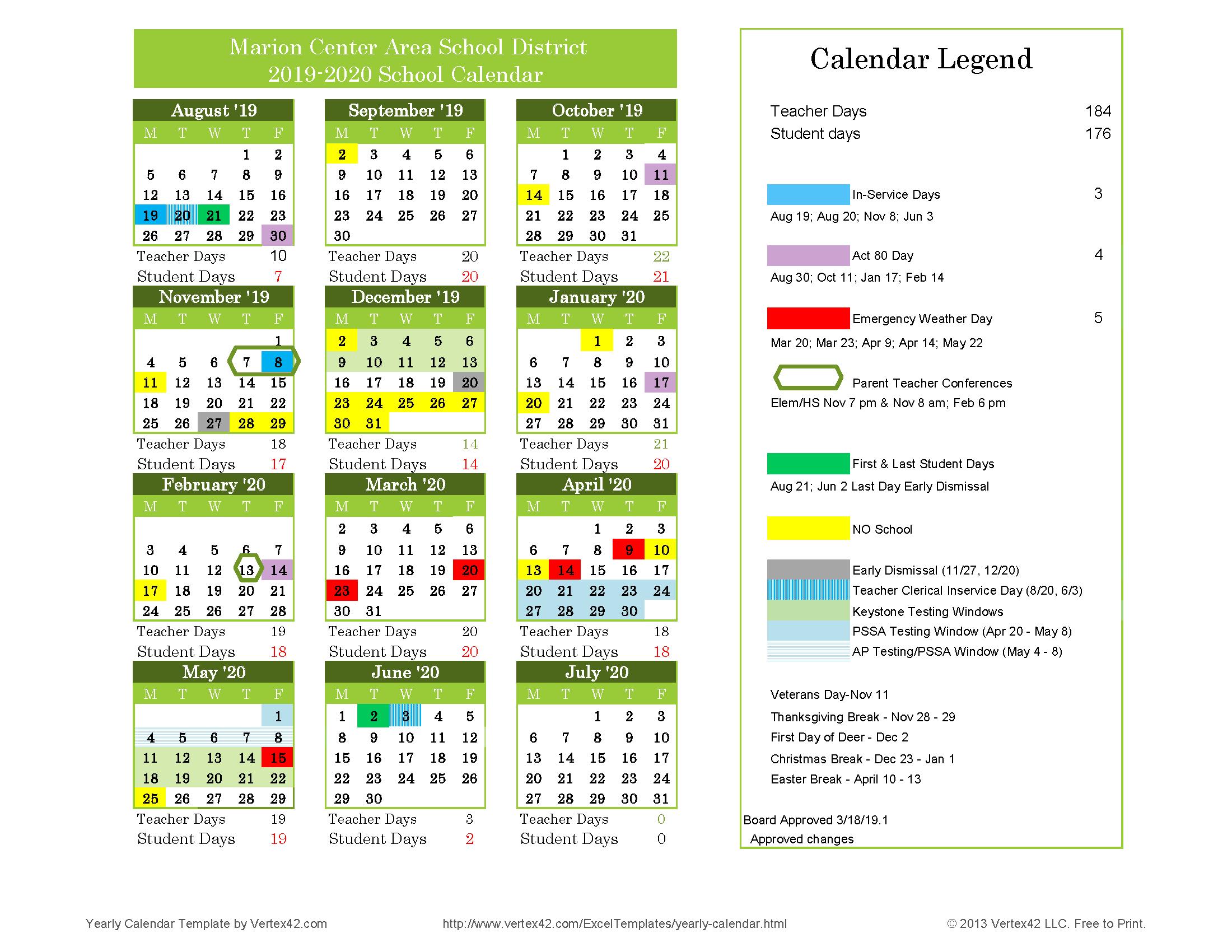 2019-2020 School Calendar – About Us – Marion Center Area School inside Calendar With Special Days 2020