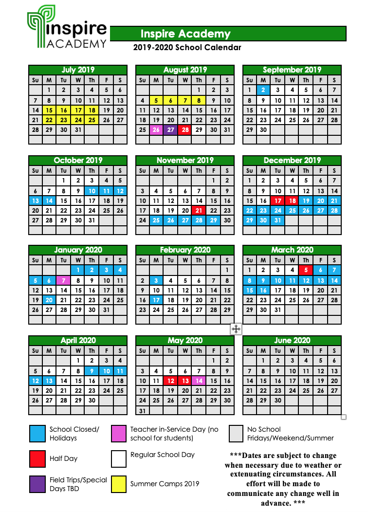 2019-2020 School Calendar — Inspire Academy throughout Calendar With All The Special Days In 2020