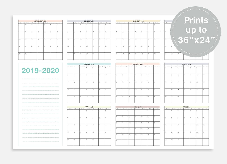 "2019-2020 School Calendar, September 2019 - June 2020 School Planner,  36X24"" School Wall Calendar, At A Glance Calendar, School Planner regarding 2019- 2020 Academic Calendar Printable Empty Boxes"