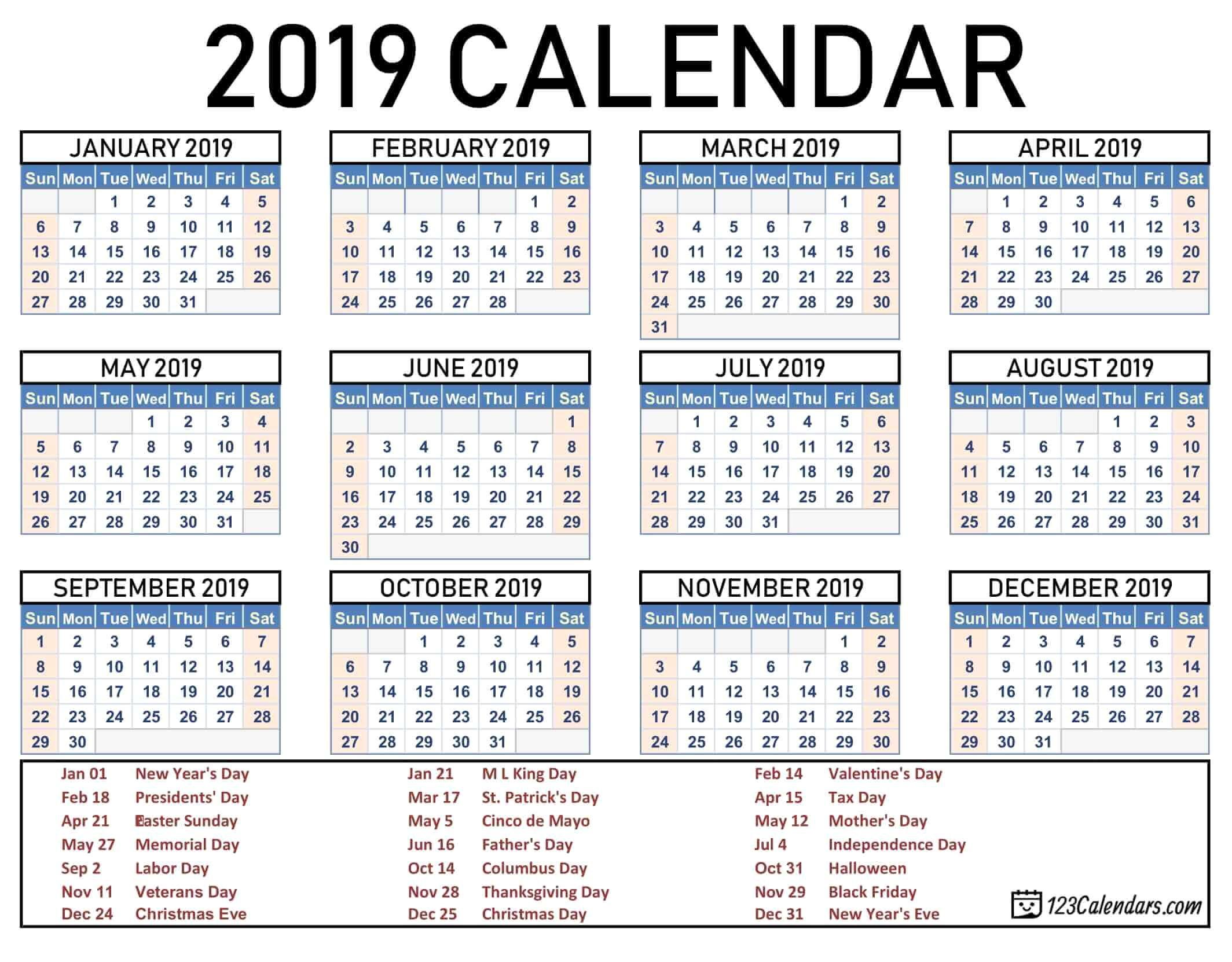 2019 2020 School Year Calendar Template Year 2019 Printable Calendar pertaining to 2019- 2020 Academic Calendar Printable Empty Boxes