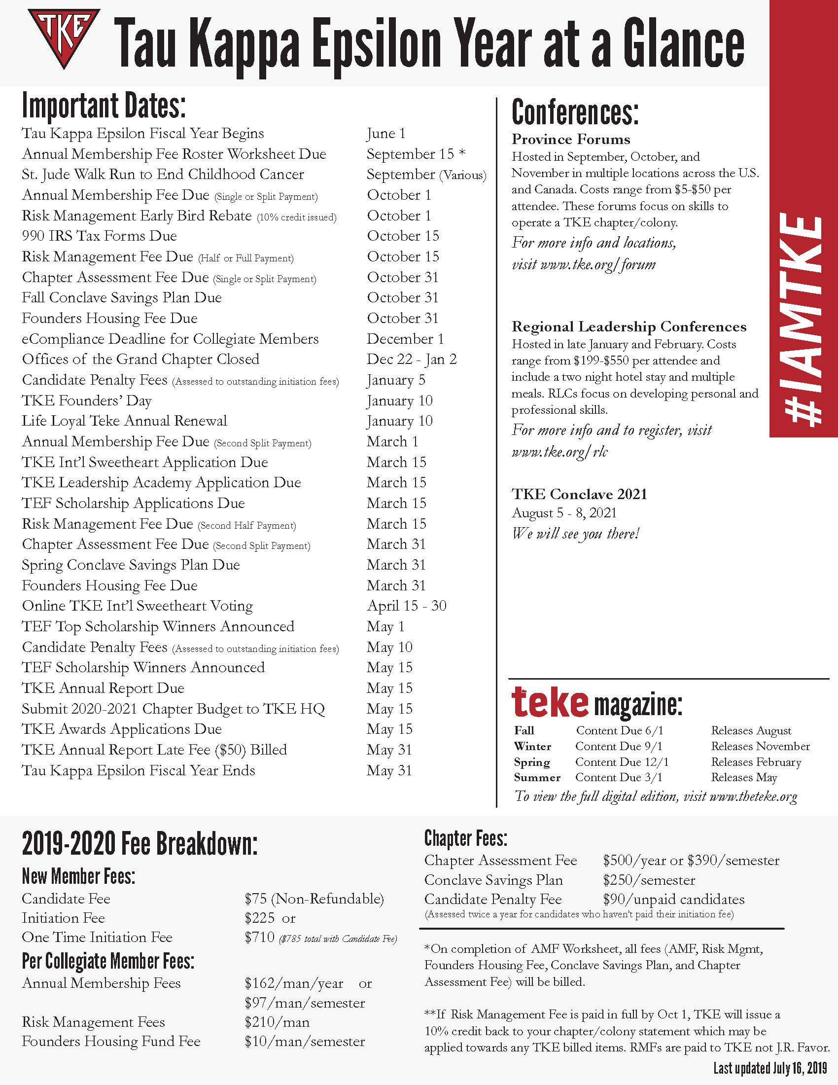 2019-2020 Year At A Glance Calendar | Tke regarding U Of R 2020 Calendar