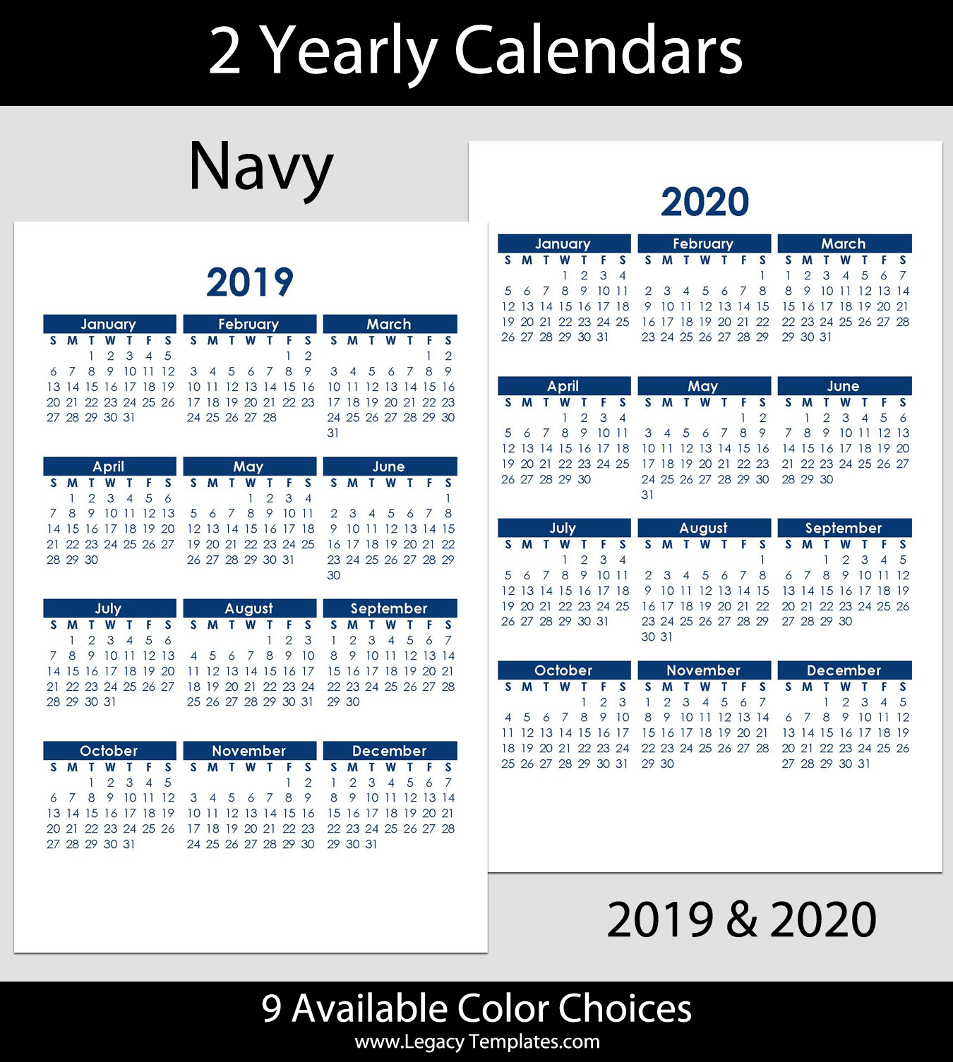 2019 & 2020 Yearly Calendar – 5.5 X 8.5 | Legacy Templates within 2020 Calendar For 5.5 X 8.5