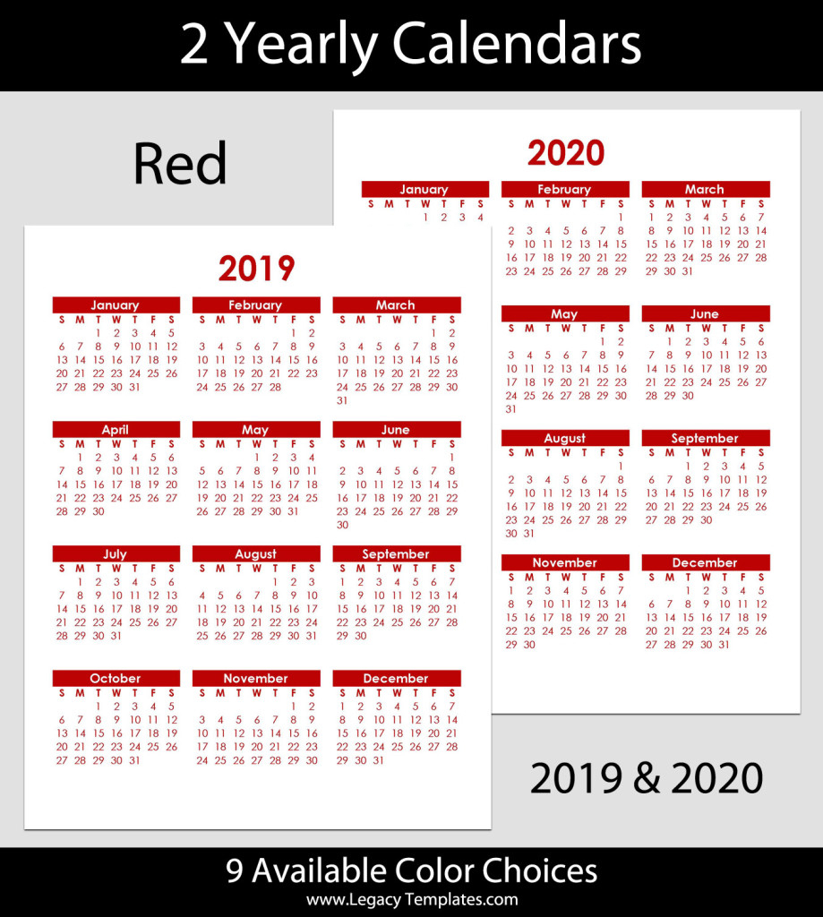 2019 & 2020 Yearly Calendar – 8.5 X 11 | Legacy Templates regarding 2020 Calendar 8.5 X 11