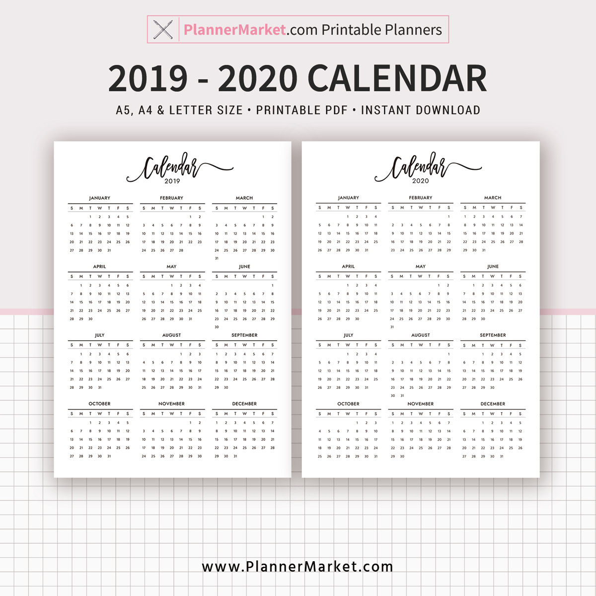 2019-2020 Yearly Calendar Printable, Filofax A5, A4, Letter Size, Planner  Refill, Planner Pages, Planner Inserts, Instant Download pertaining to Printable 8.5 X 11 2020 Calendar